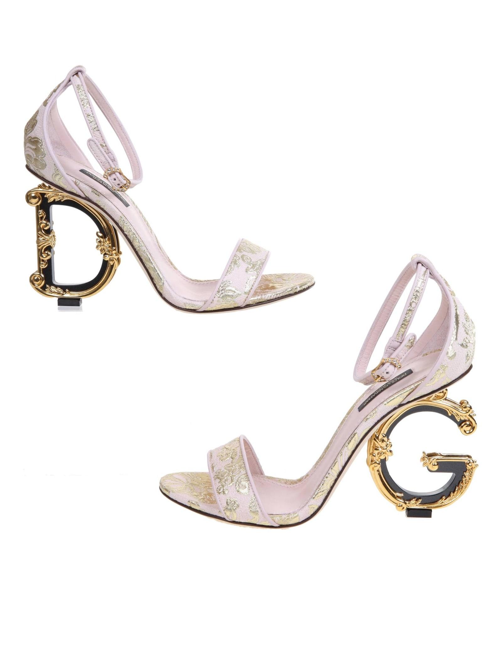 Dolce & Gabbana KEIRA SANDAL IN PINK BROCADE FABRIC