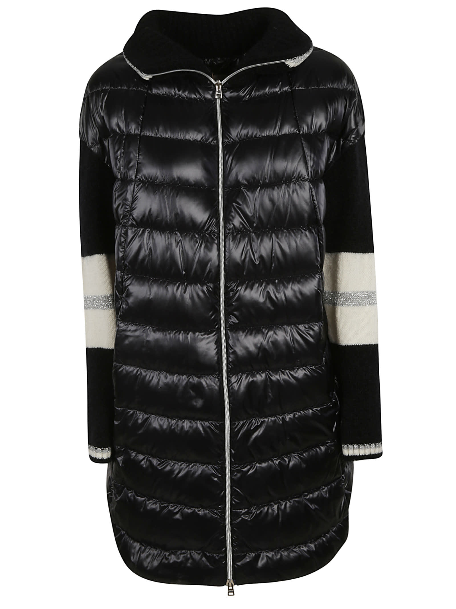 Herno Knitted Sleeve Zipped Padded Parka