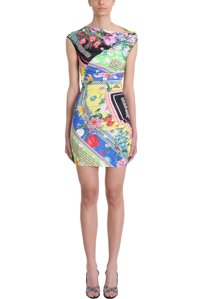 Versace Multicolour Printed Fitted Dress