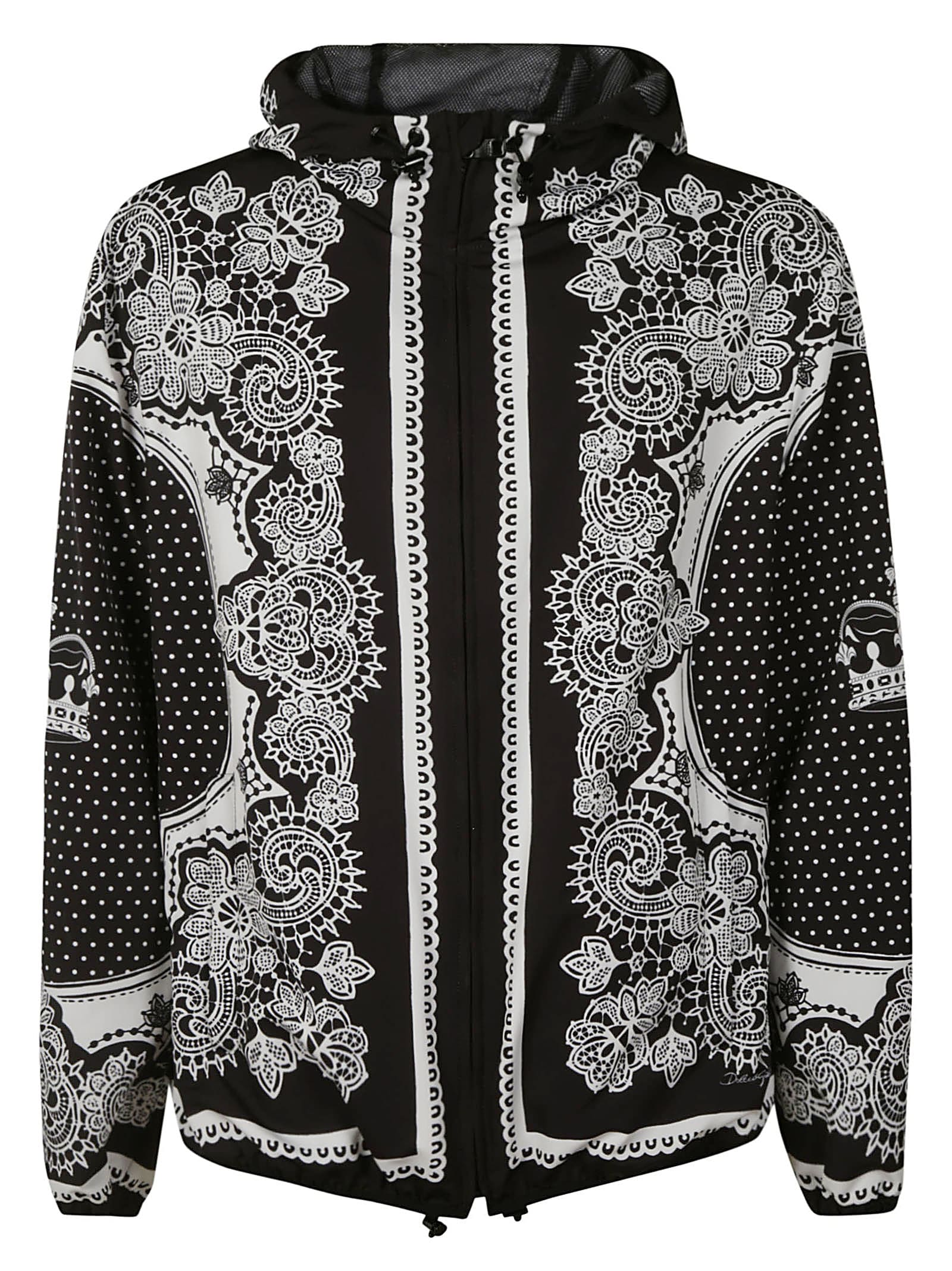 Dolce & Gabbana Baroque Print Hooded Jacket