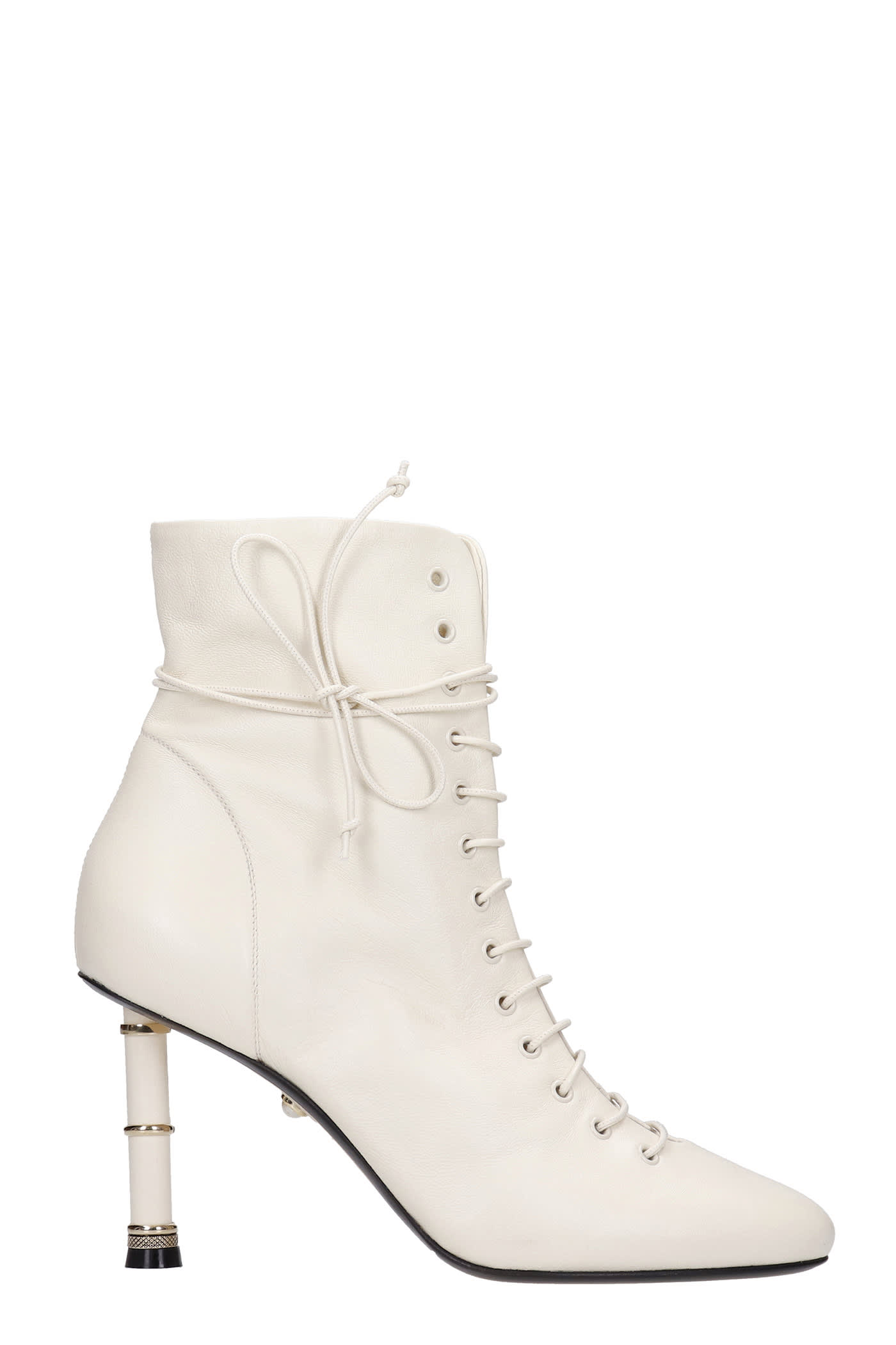 Love 090 High Heels Ankle Boots In Beige Leather