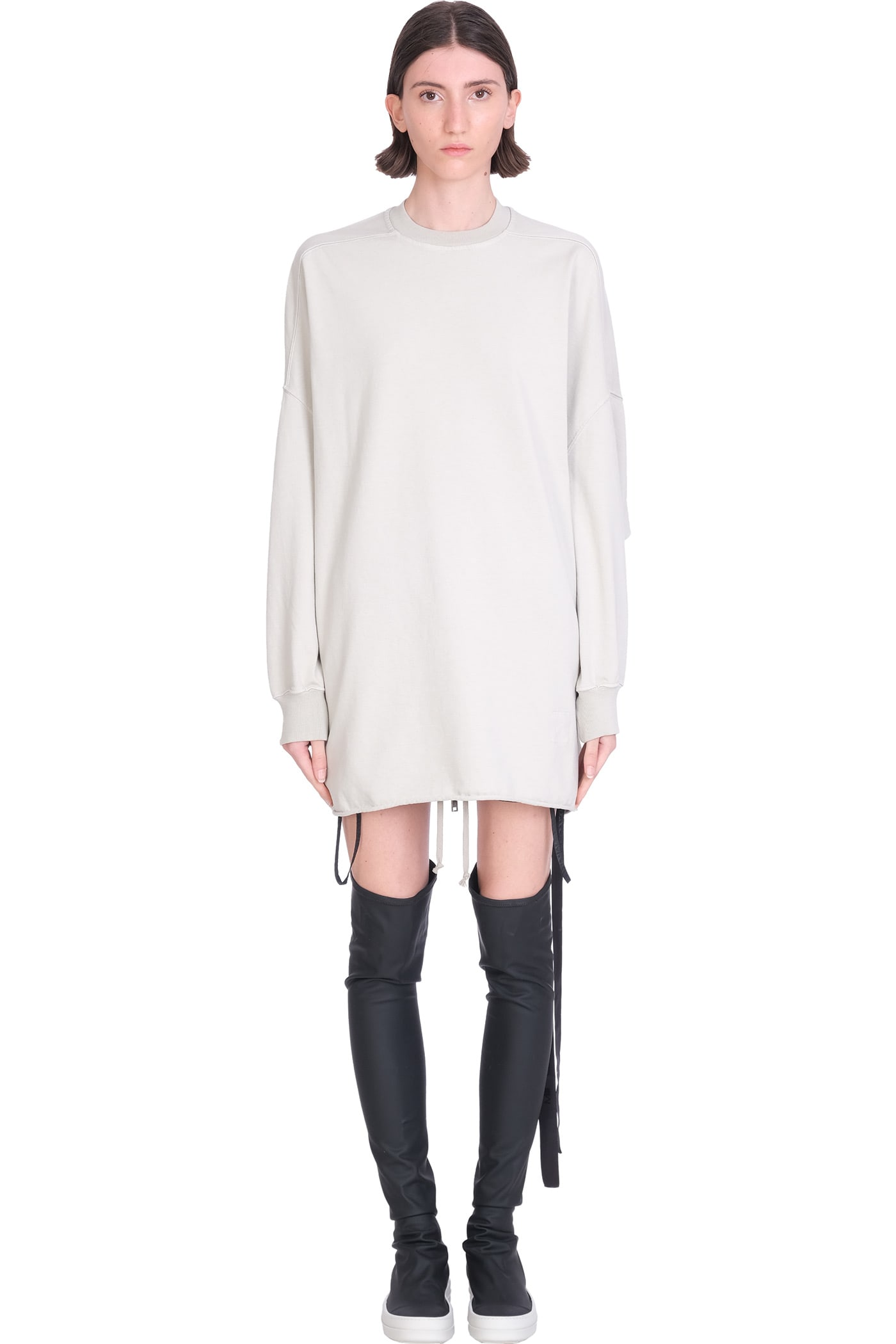 Crater Tunic Dress In Grey Cotton