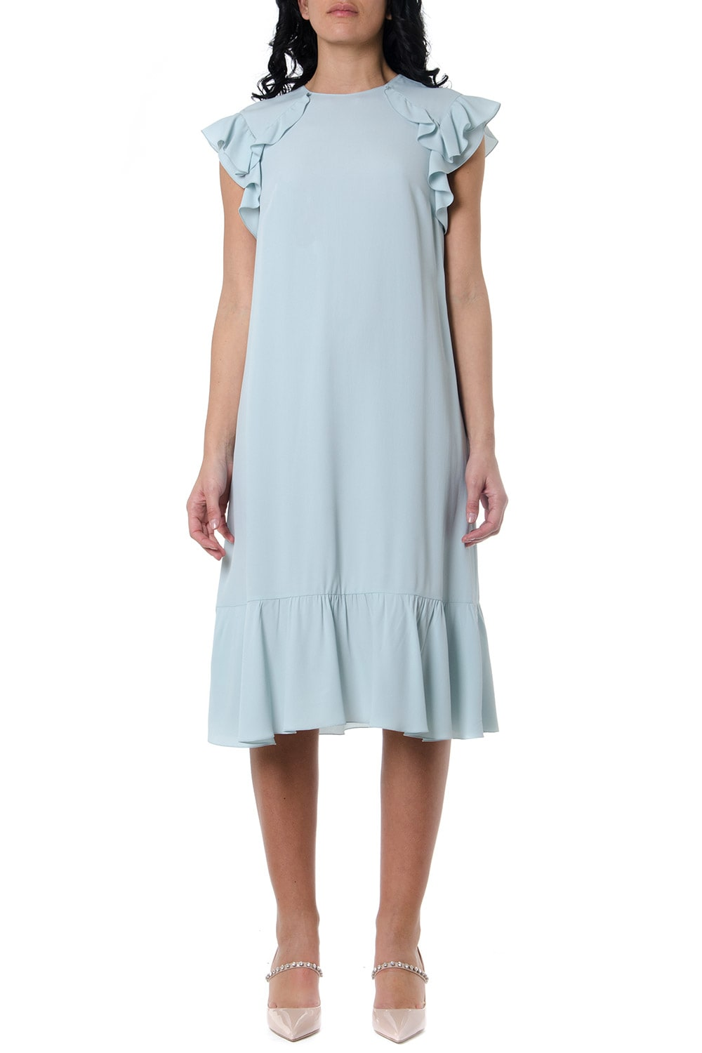 Buy RED Valentino Crepe Dress In Light Blue Color online, shop RED Valentino with free shipping