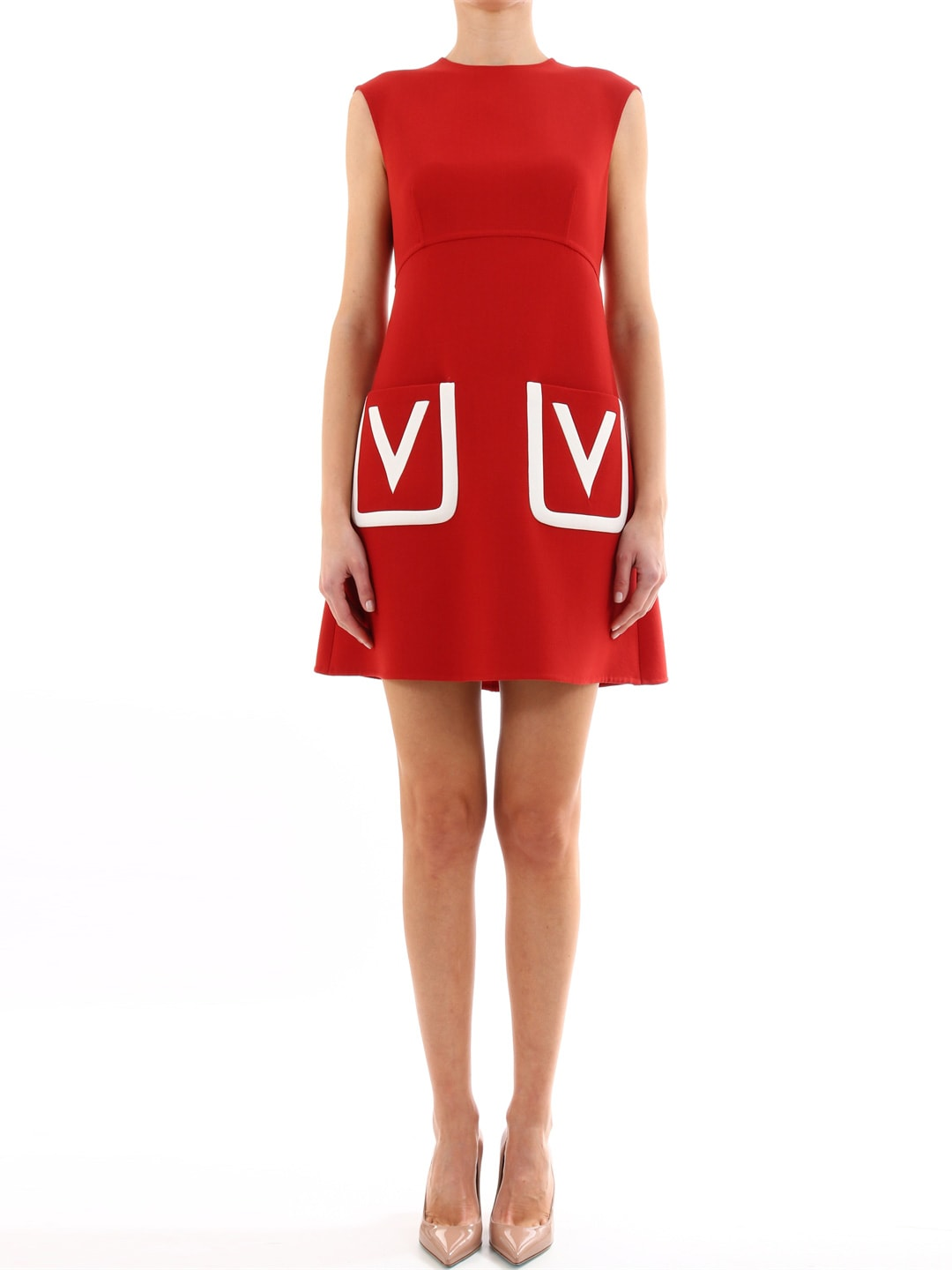 Valentino Red Double Crepe Wool Dress