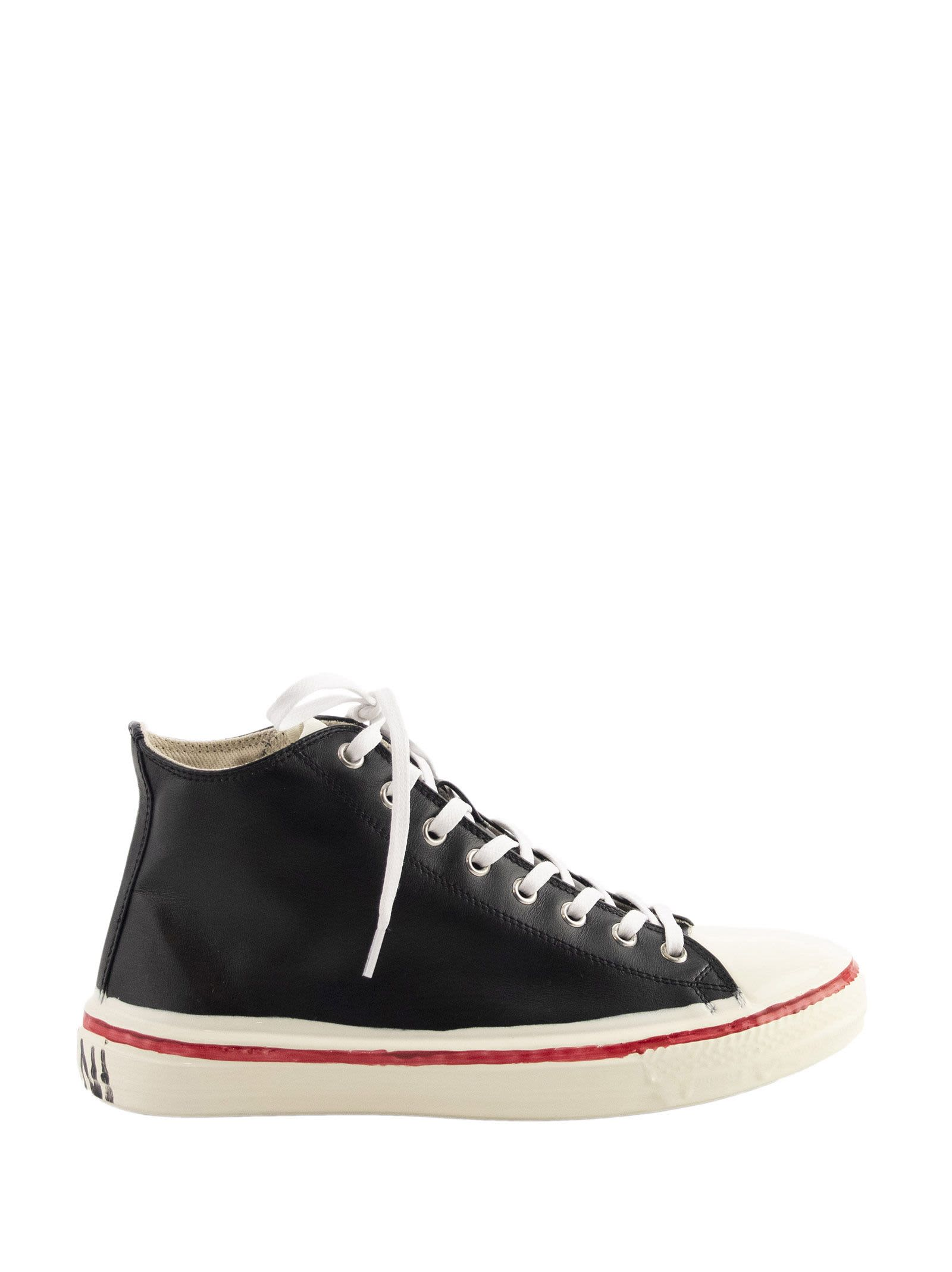 Marni Marni Graffiti Black High-top Sneaker In Leather With Partial Rubber Coating