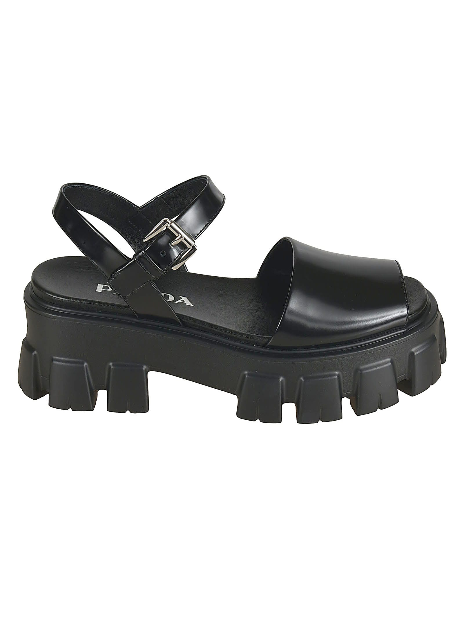 Buy Prada Side Buckled Wedge Sandals online, shop Prada shoes with free shipping