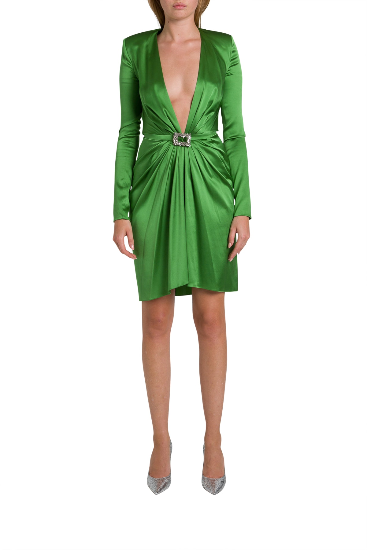Buy Alexandre Vauthier Draped Silk-blend Mini Dress online, shop Alexandre Vauthier with free shipping