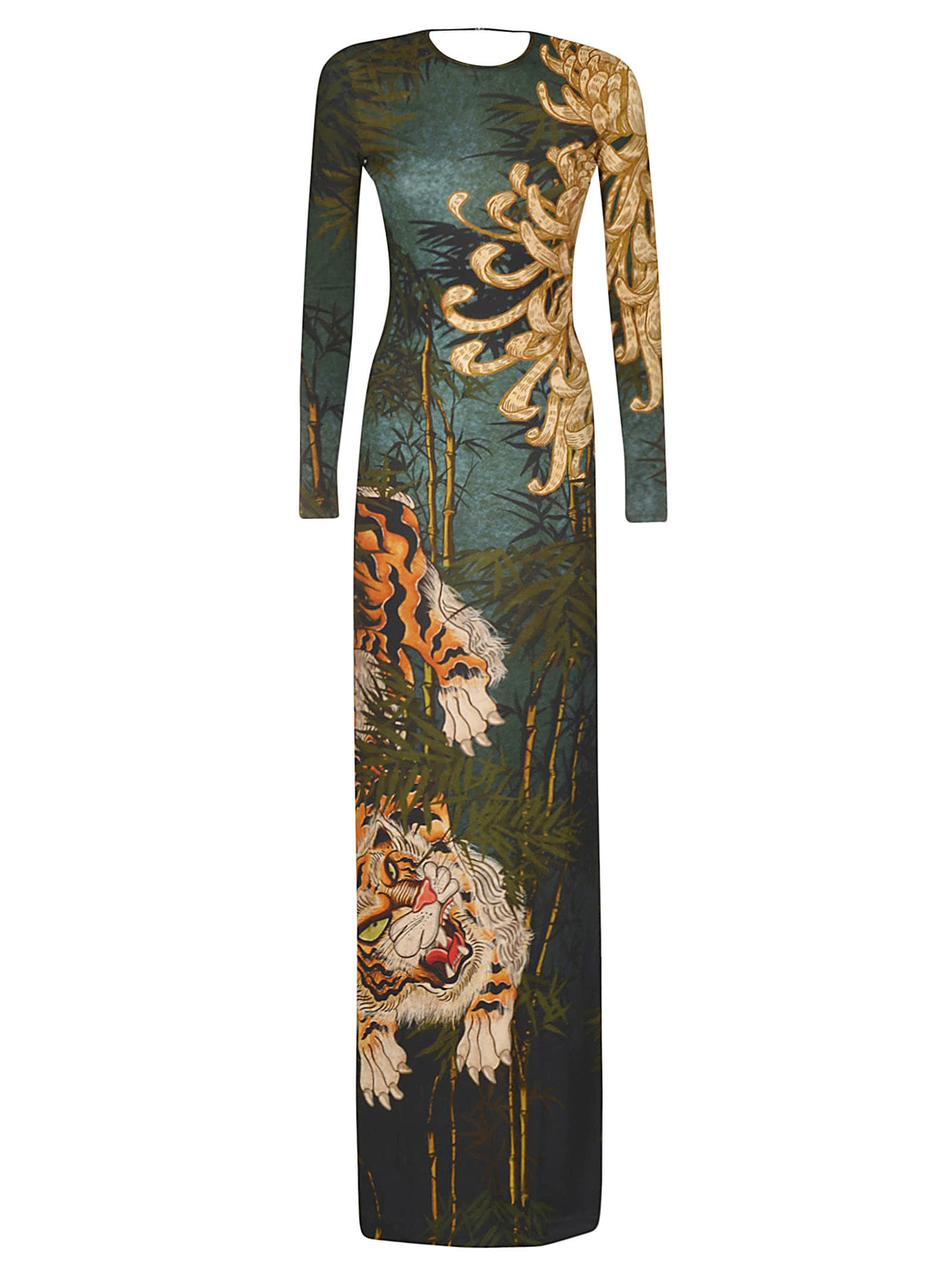 Buy Dsquared2 Tiger Print Slim Maxi Dress online, shop Dsquared2 with free shipping