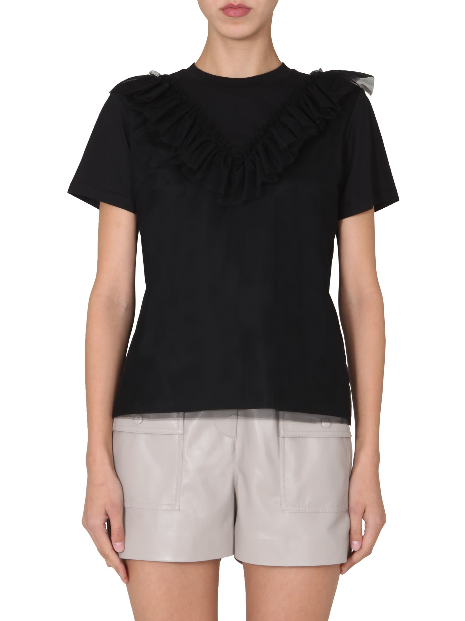Msgm T-SHIRT WITH TULLE RUCHES