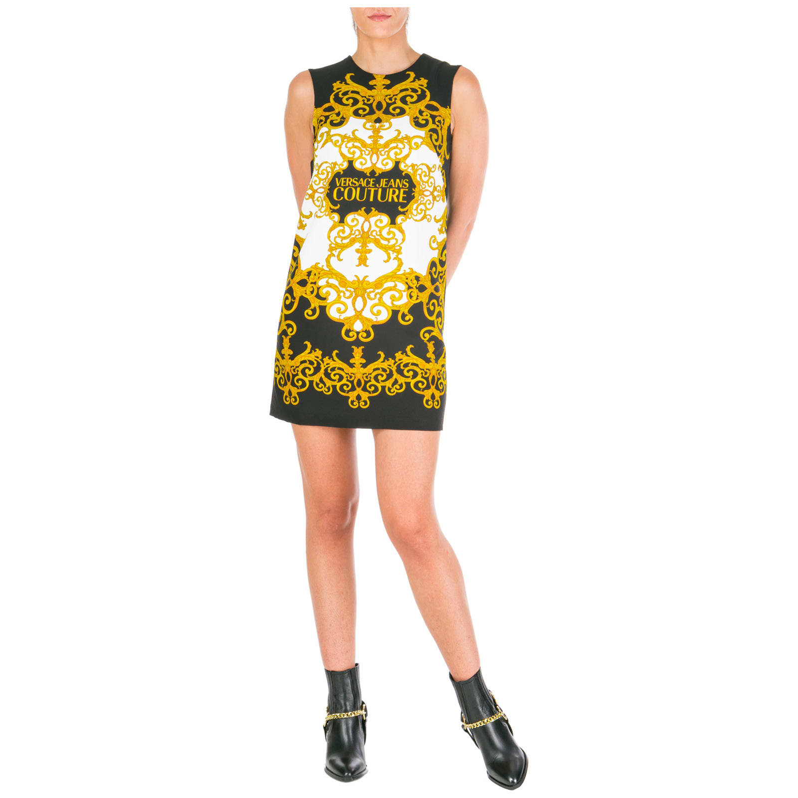 Versace Jeans Couture Knee Length Dress Sleeveless Logo Baroque