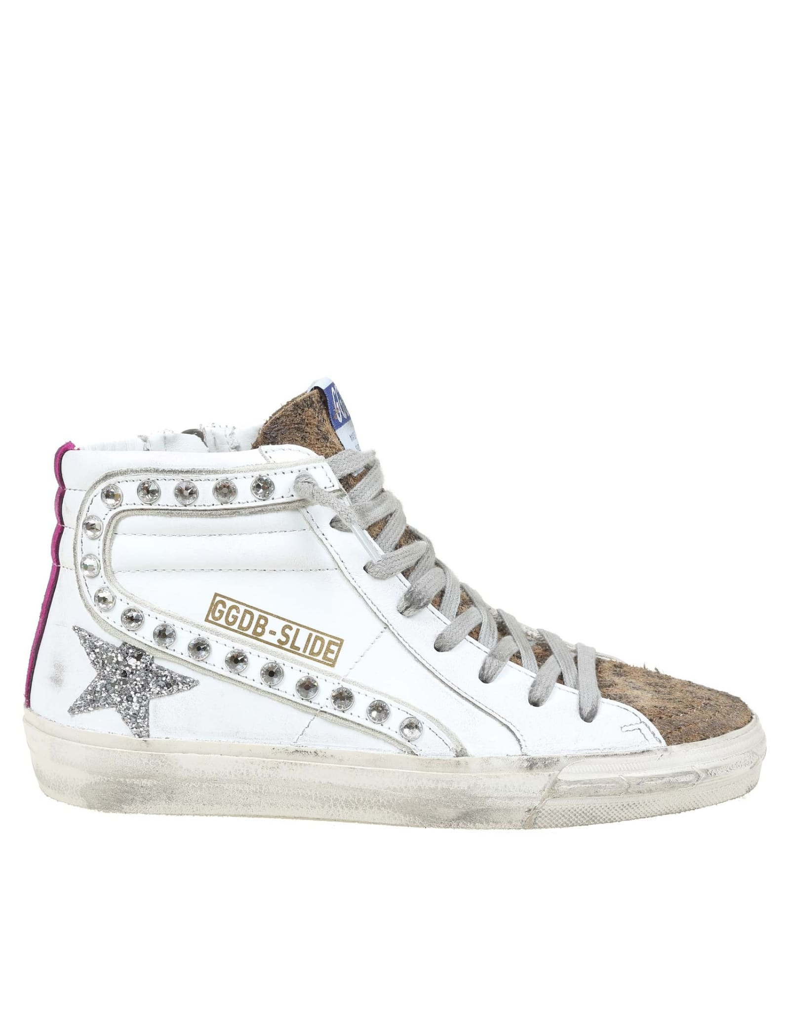 Golden Goose Leather Slide Sneakers With Applied Studs