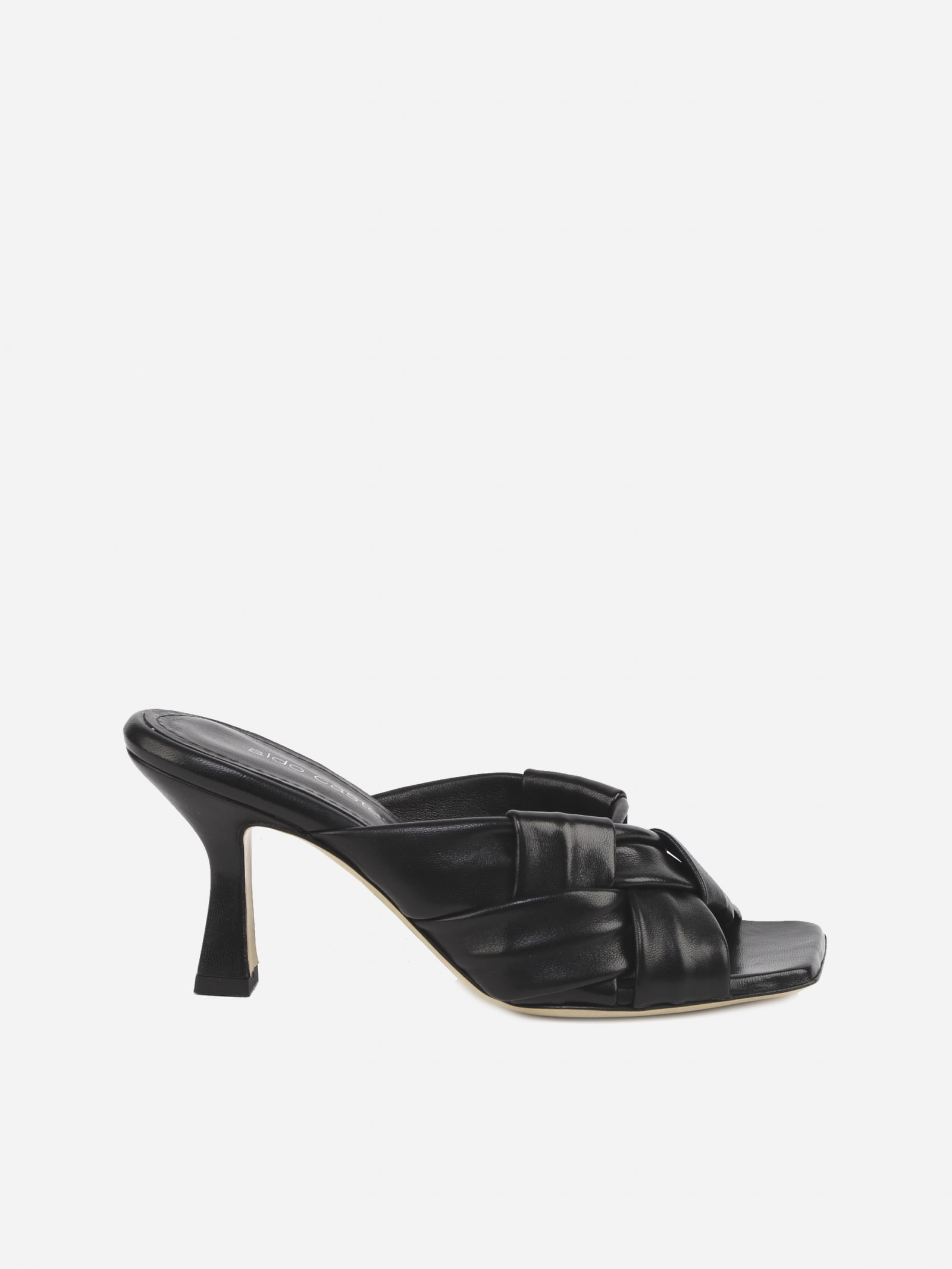 Flora Sandals In Leather With Woven Pattern