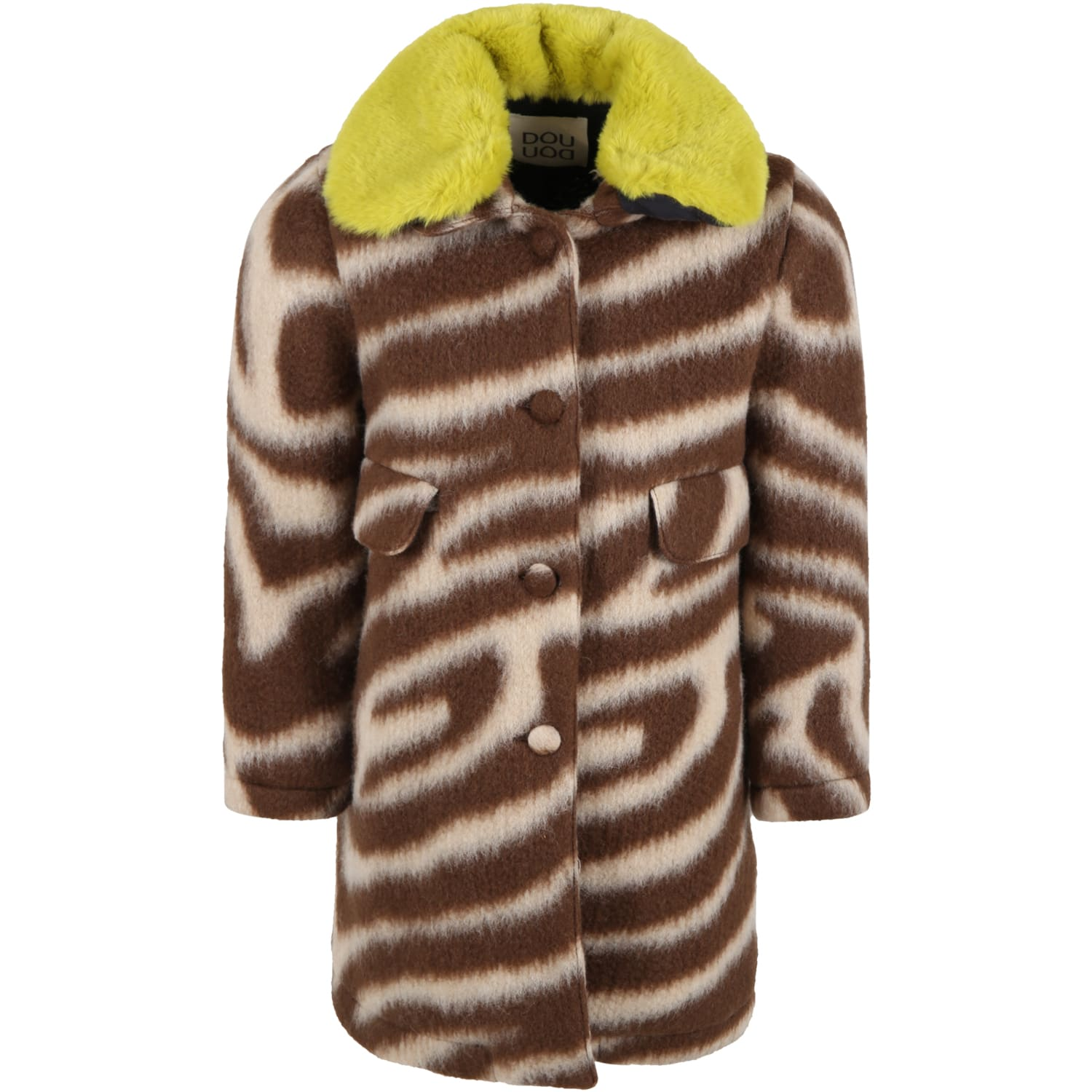Brown Coat For Kids With Yellow Collar