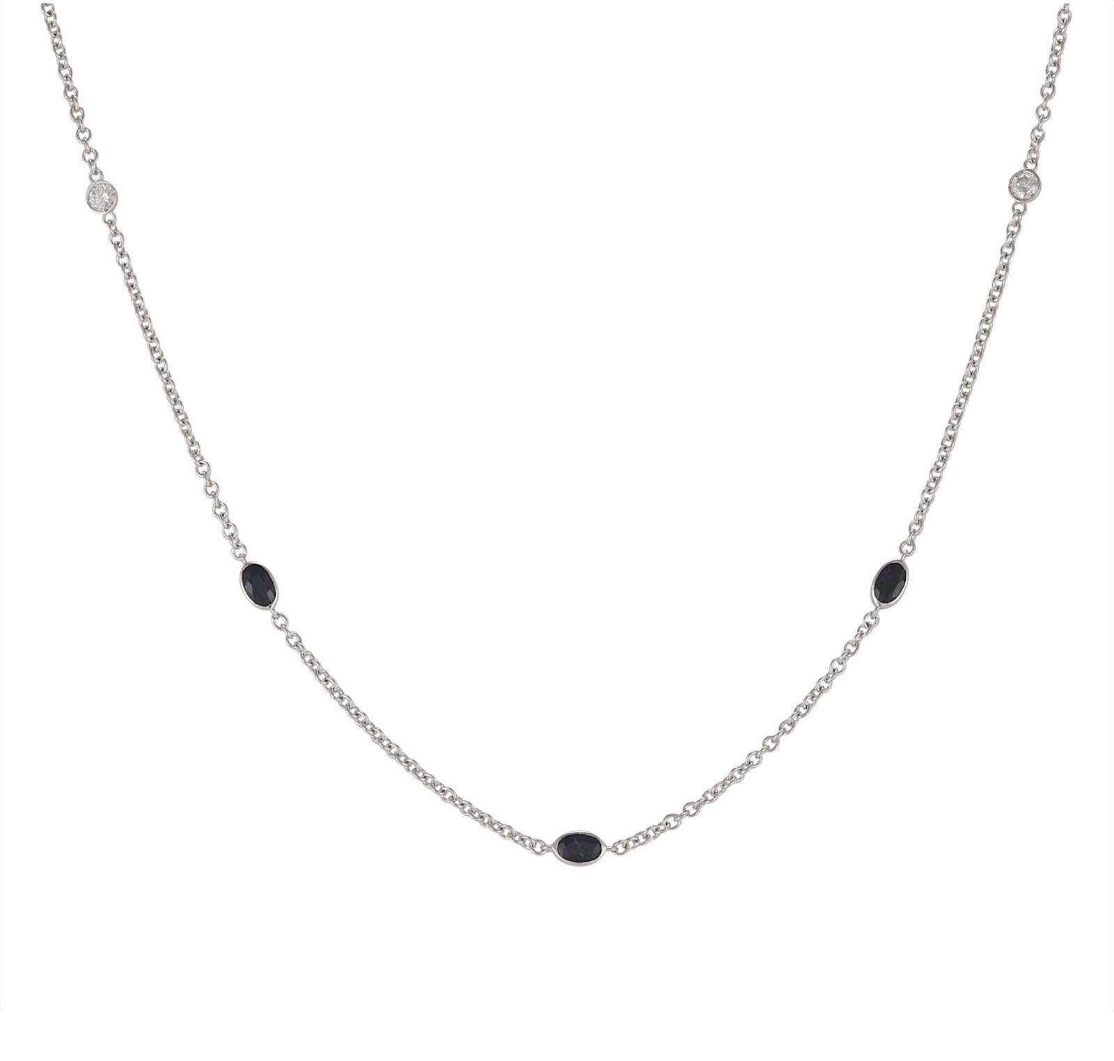 Lo Spazio Blue Sapphire and Diamond Necklace