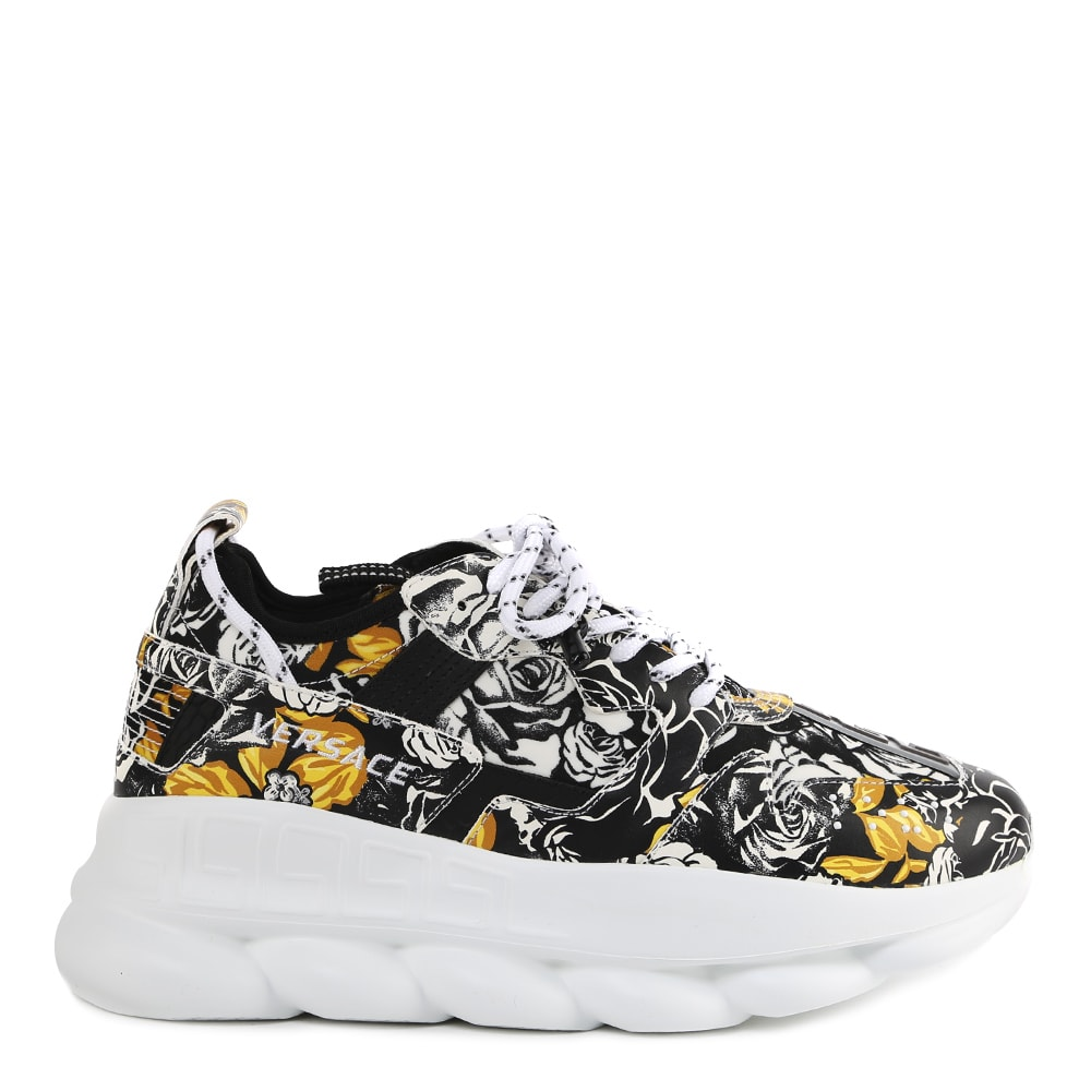 VERSACE BAROQUE CHAIN REACTION SNEAKERS IN LEATHER
