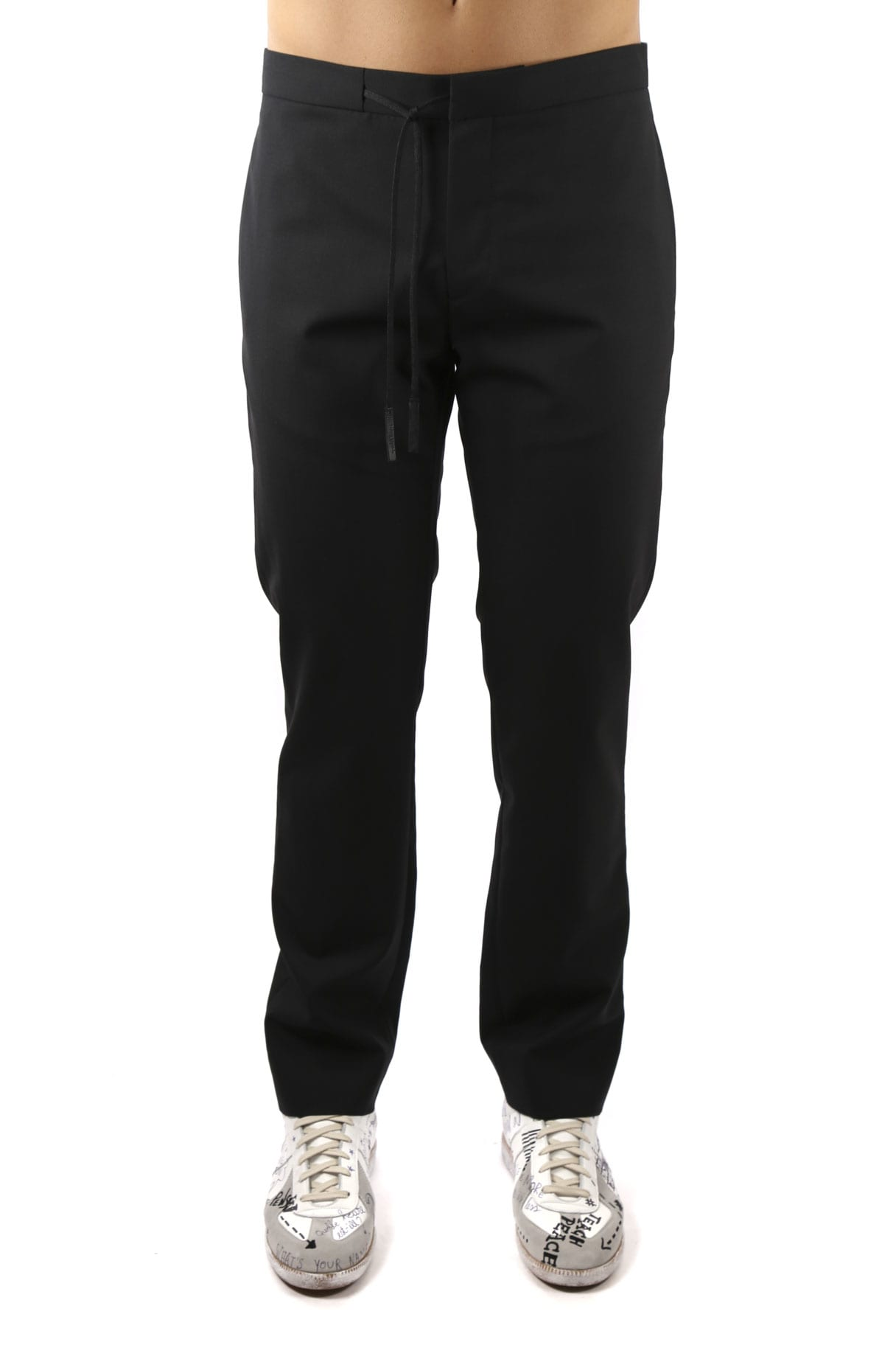 Maison Margiela Black Wool Waistband Jogging Pants