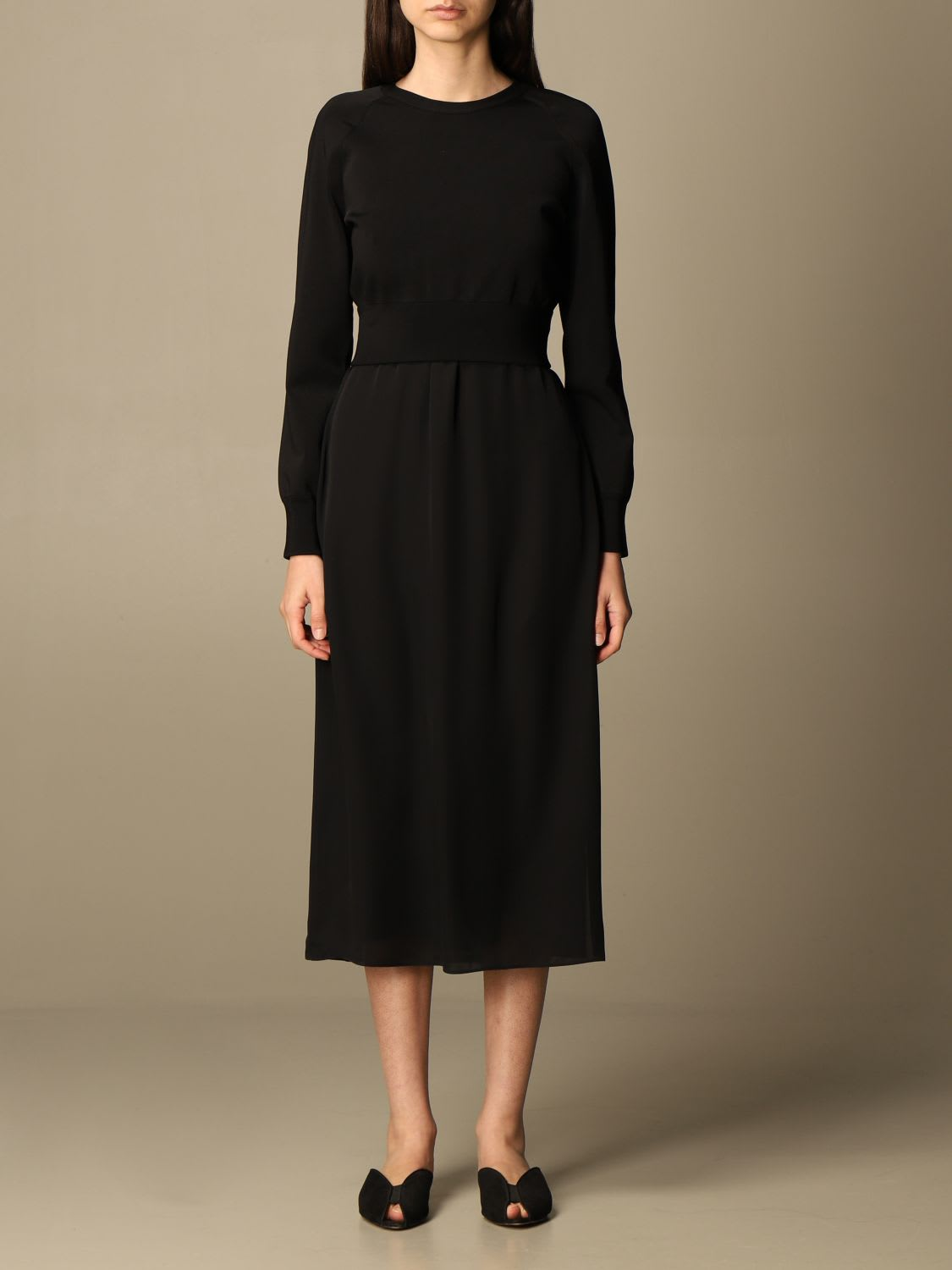 Theory Sweater Theory Midi Dress In Silk And Knit