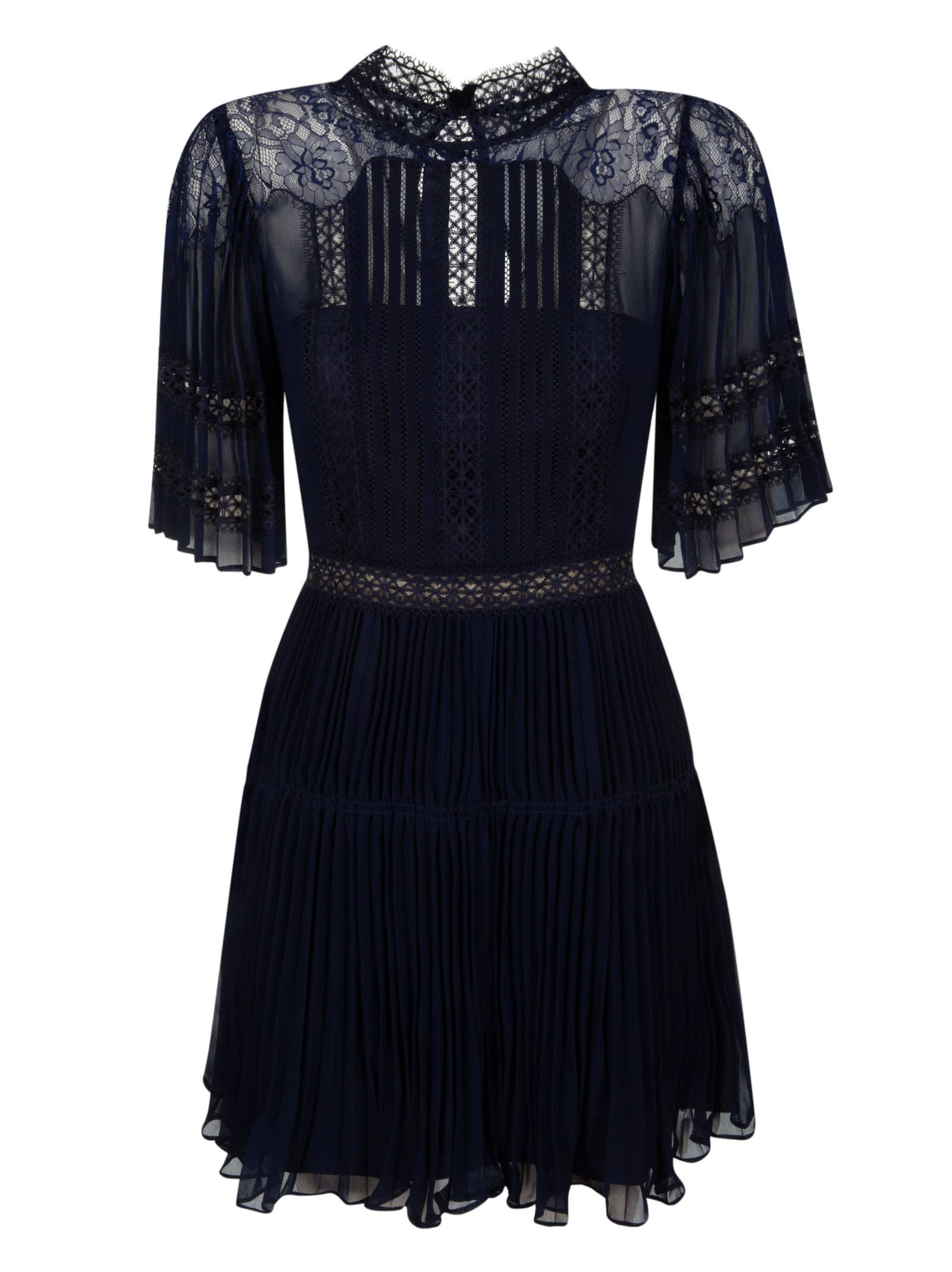 Buy self-portrait Lace Panel Chiffon Mini Dress online, shop self-portrait with free shipping