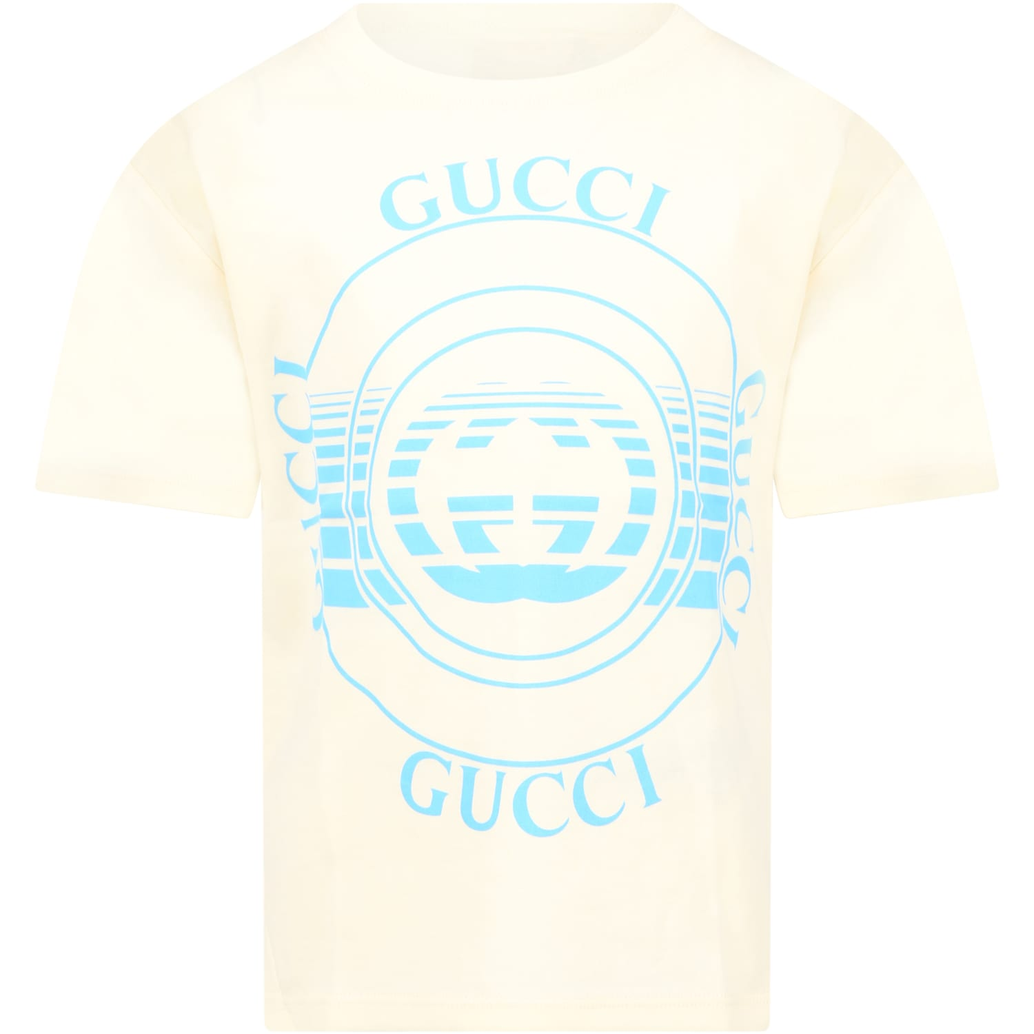 Gucci IVORY T-SHIRT FOR KIDS WITH LOGOS