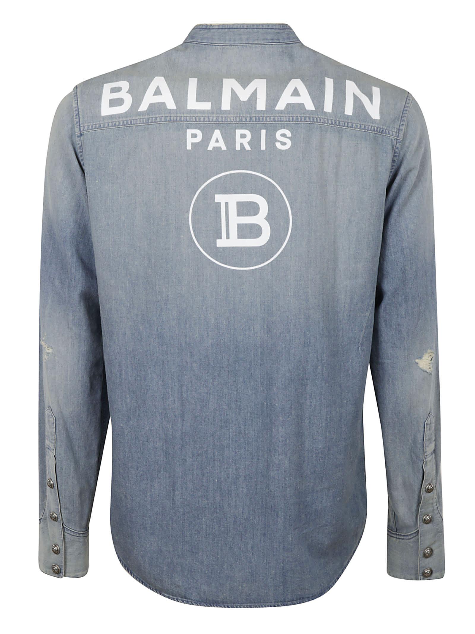 Best Authentic Balmain Back Logo Print Denim Shirt - Top Quality