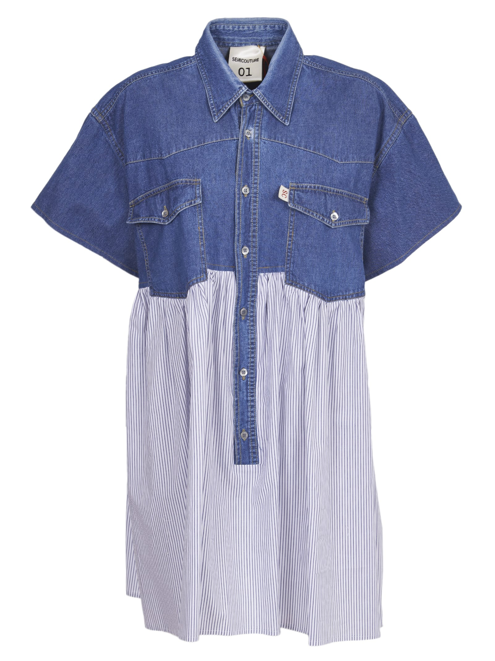 Buy SEMICOUTURE Denim And Striped Cotton Dress online, shop SEMICOUTURE with free shipping