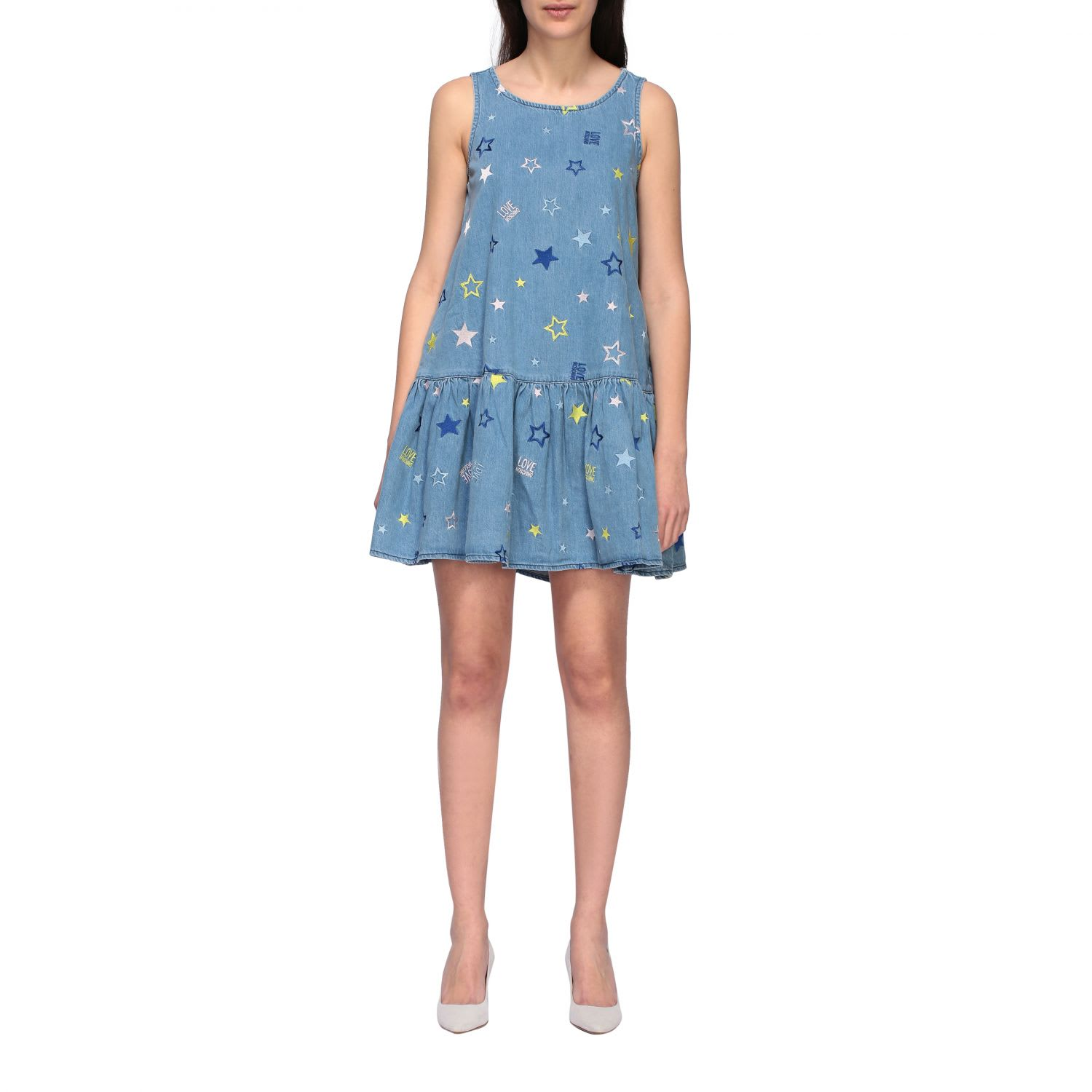 Buy Love Moschino Dress Love Moschino Denim Dress With Embroidered Stars online, shop Love Moschino with free shipping