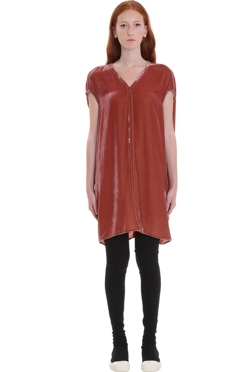 Buy Rick Owens Floating Tunic Dress In Rose-pink Velvet online, shop Rick Owens with free shipping