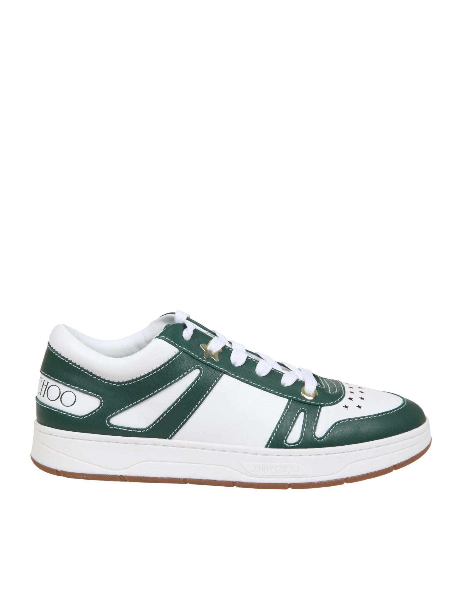 Jimmy Choo HAWAII / M SNEAKERS IN WHITE AND GREEN LEATHER