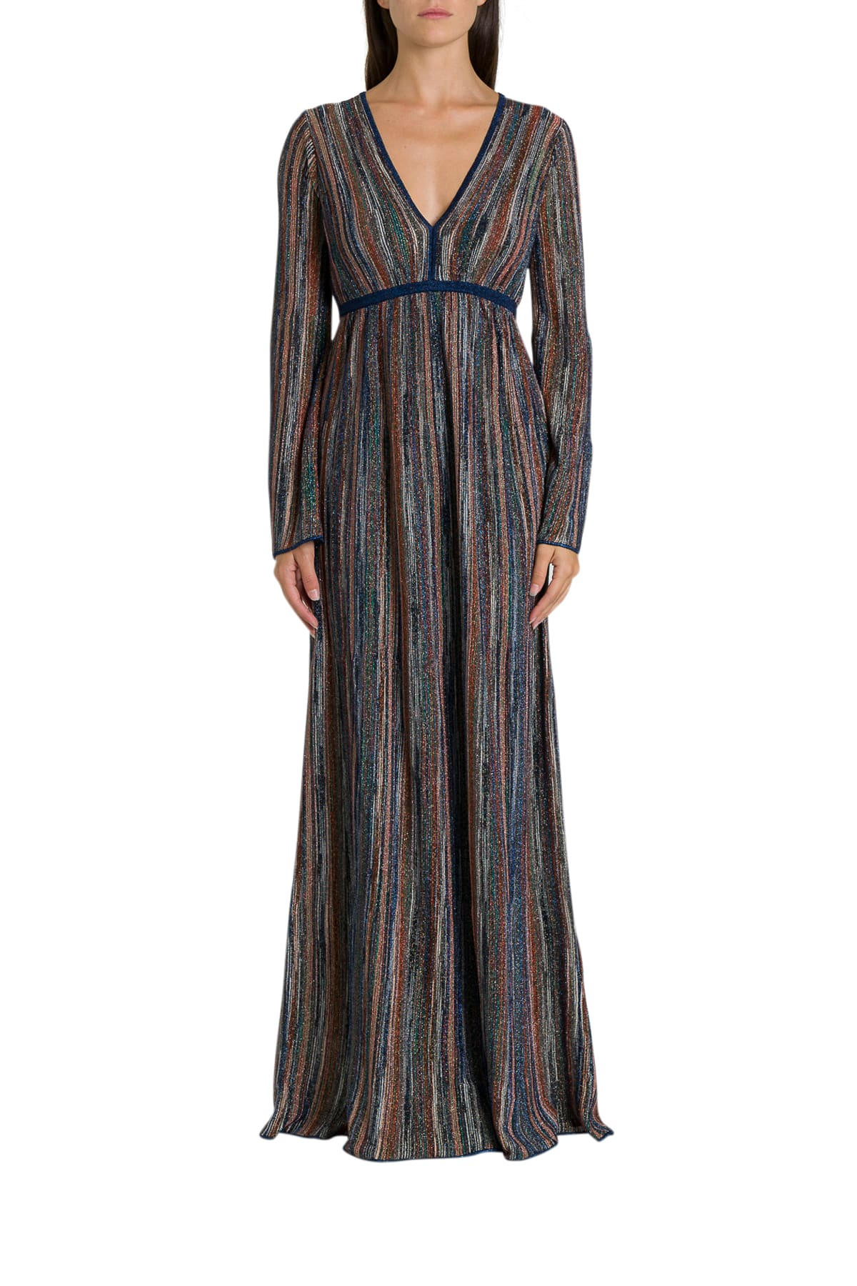 M Missoni Striped Lurex Knit Long Dress