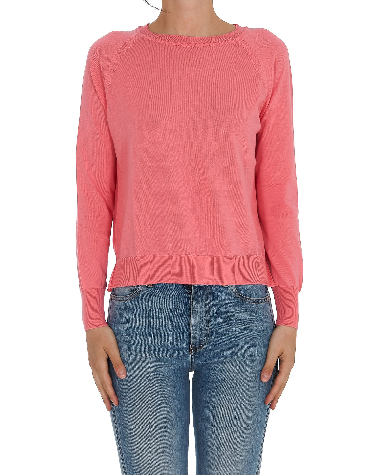 Jucca Ribbed Cotton Crewneck Jumper In Pink