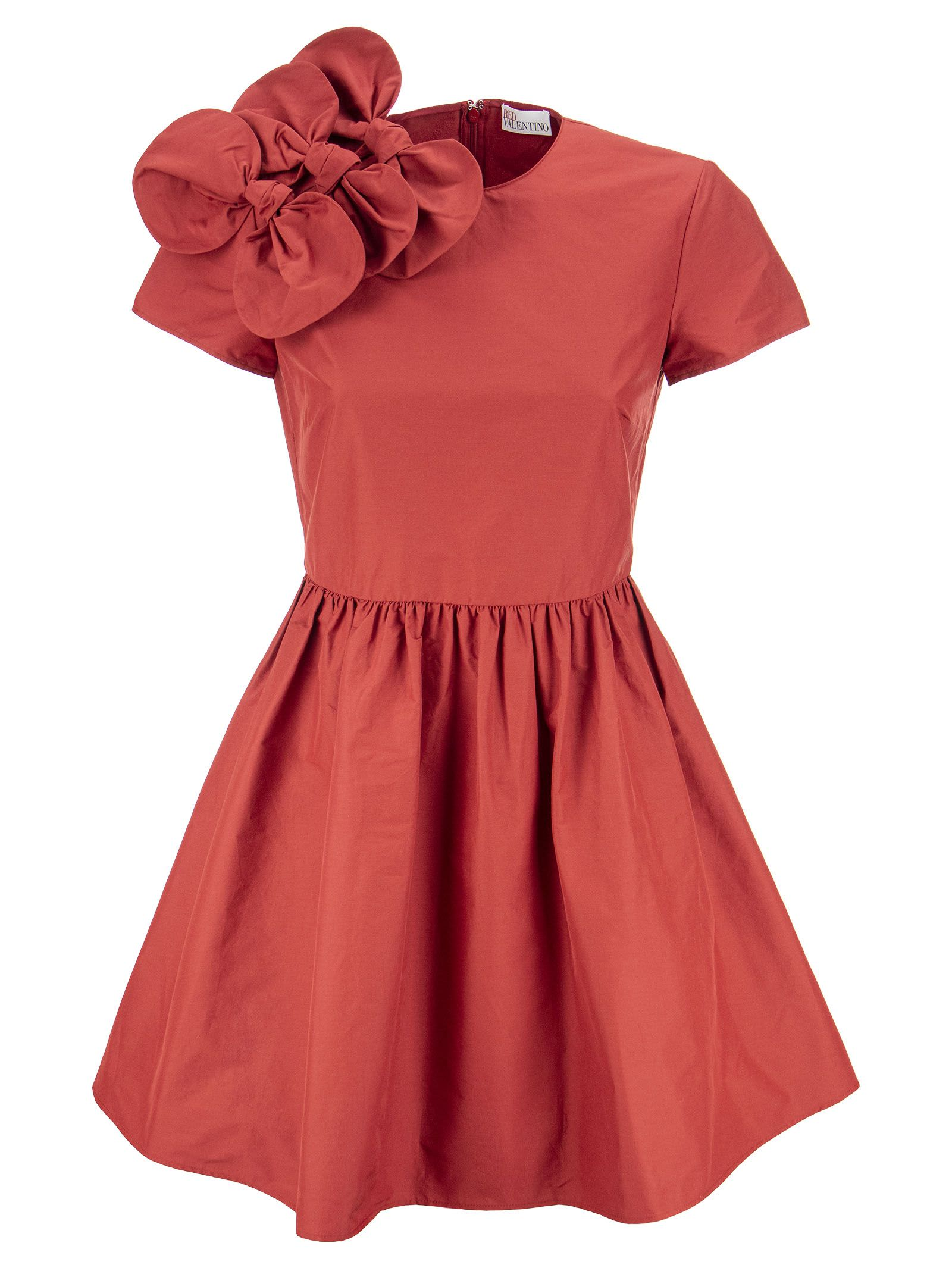 RED Valentino Cotton Taffeta Dress With Bow Detail