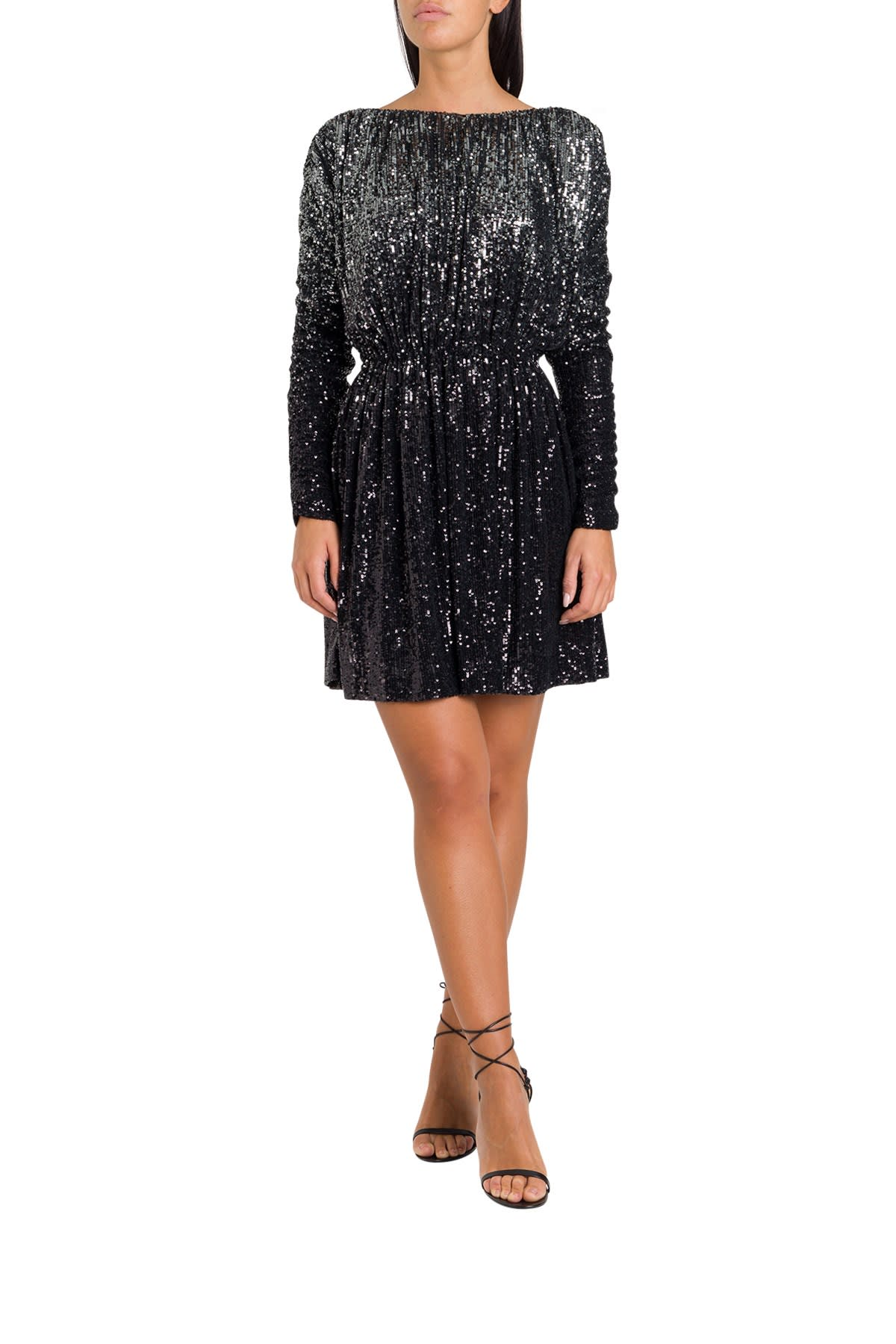 Saint Laurent Mini Dress With Allover Sequined Embroidery