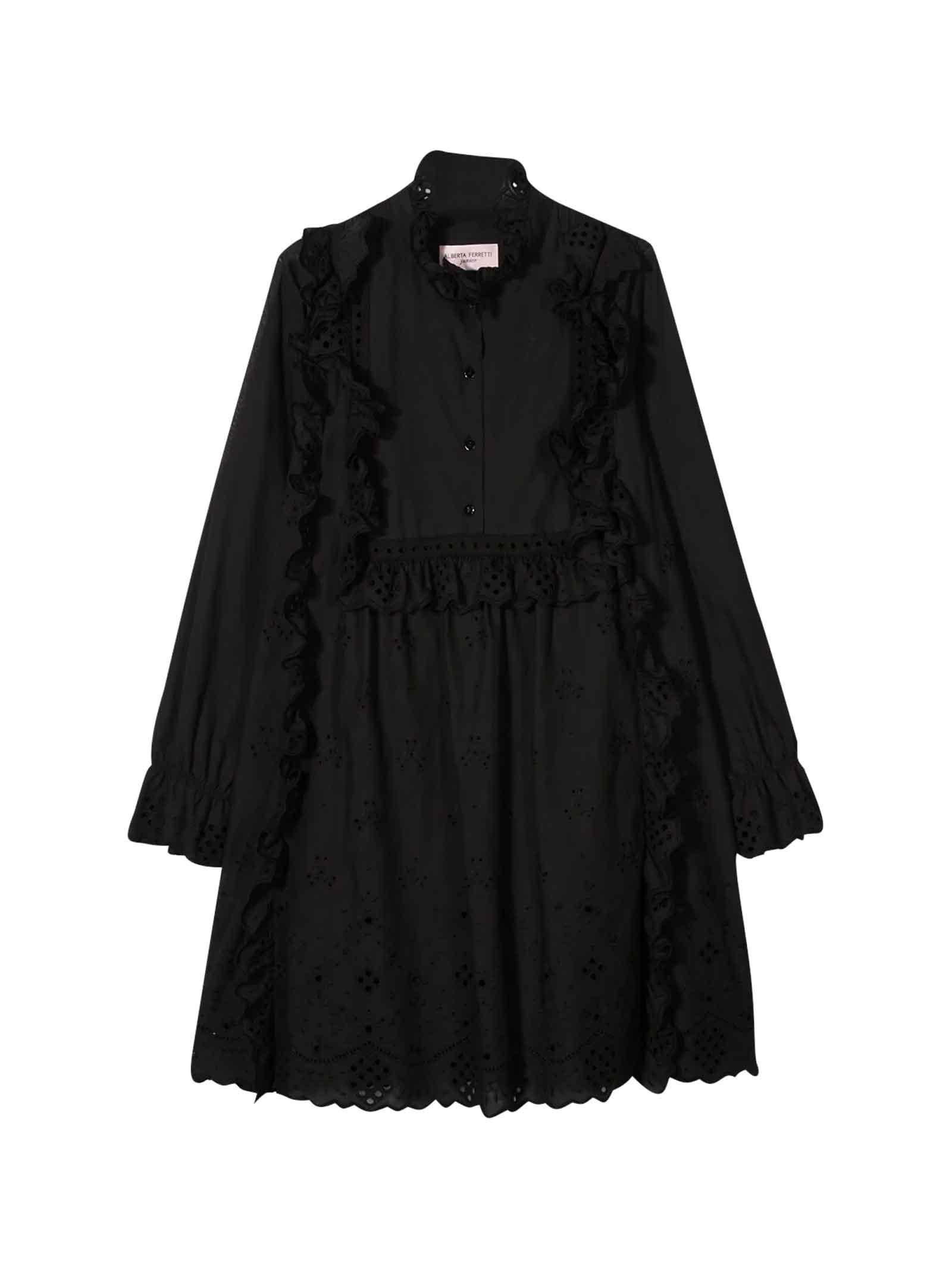 Buy Alberta Ferretti Black Teen Dress With Decorative Flowers online, shop Alberta Ferretti with free shipping