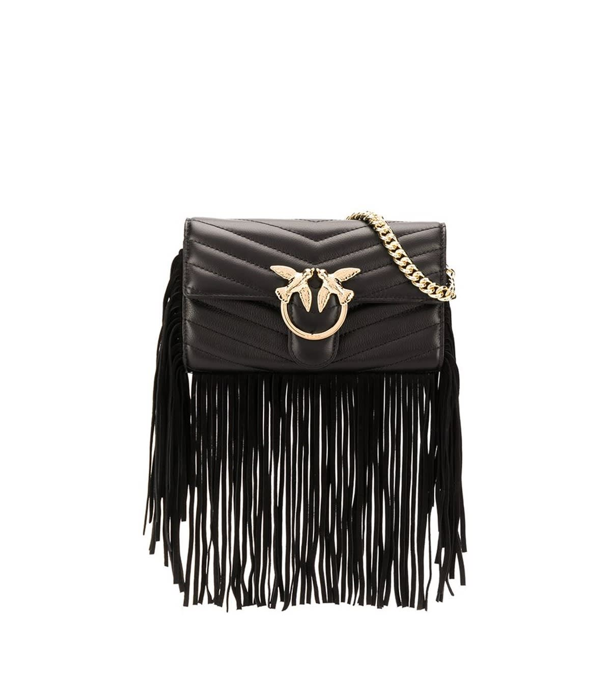 Pinko Black Love Wallet Fringes Wallet With Chain