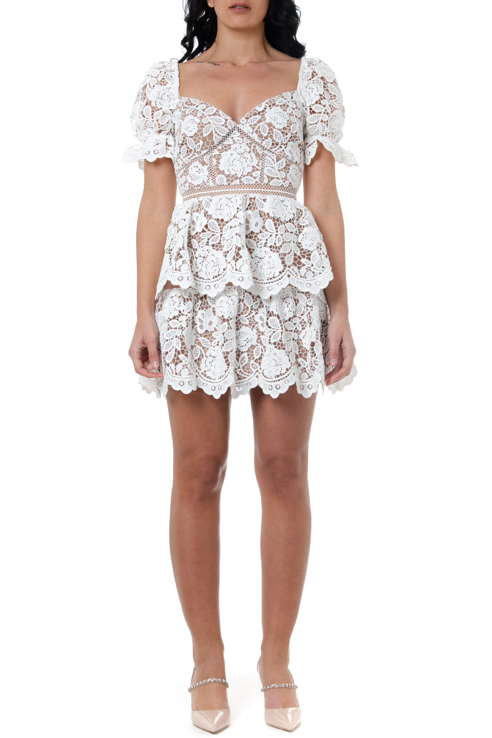 Buy self-portrait White Lace Dress online, shop self-portrait with free shipping