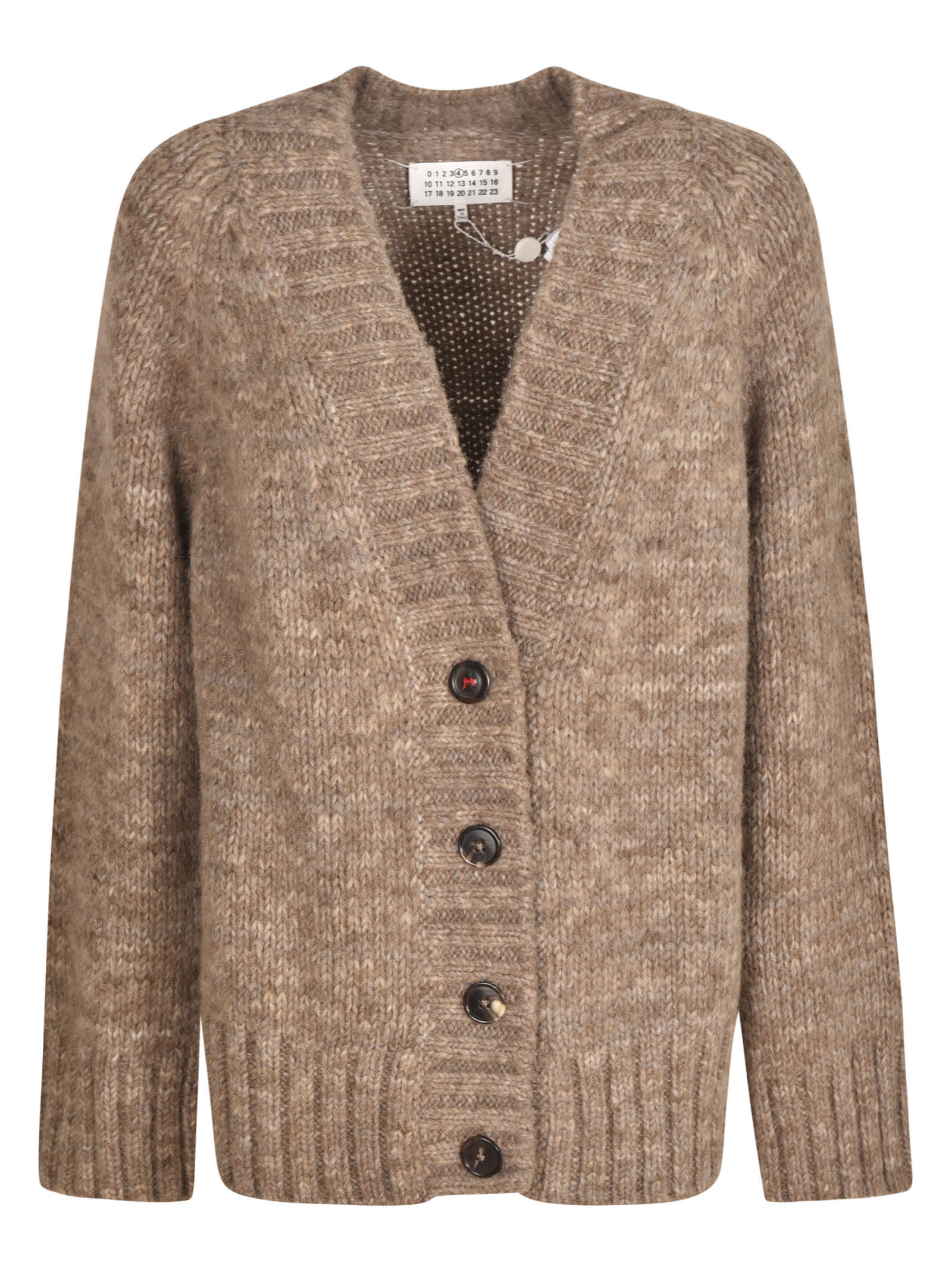 Maison Margiela Buttoned Cardigan In Brown