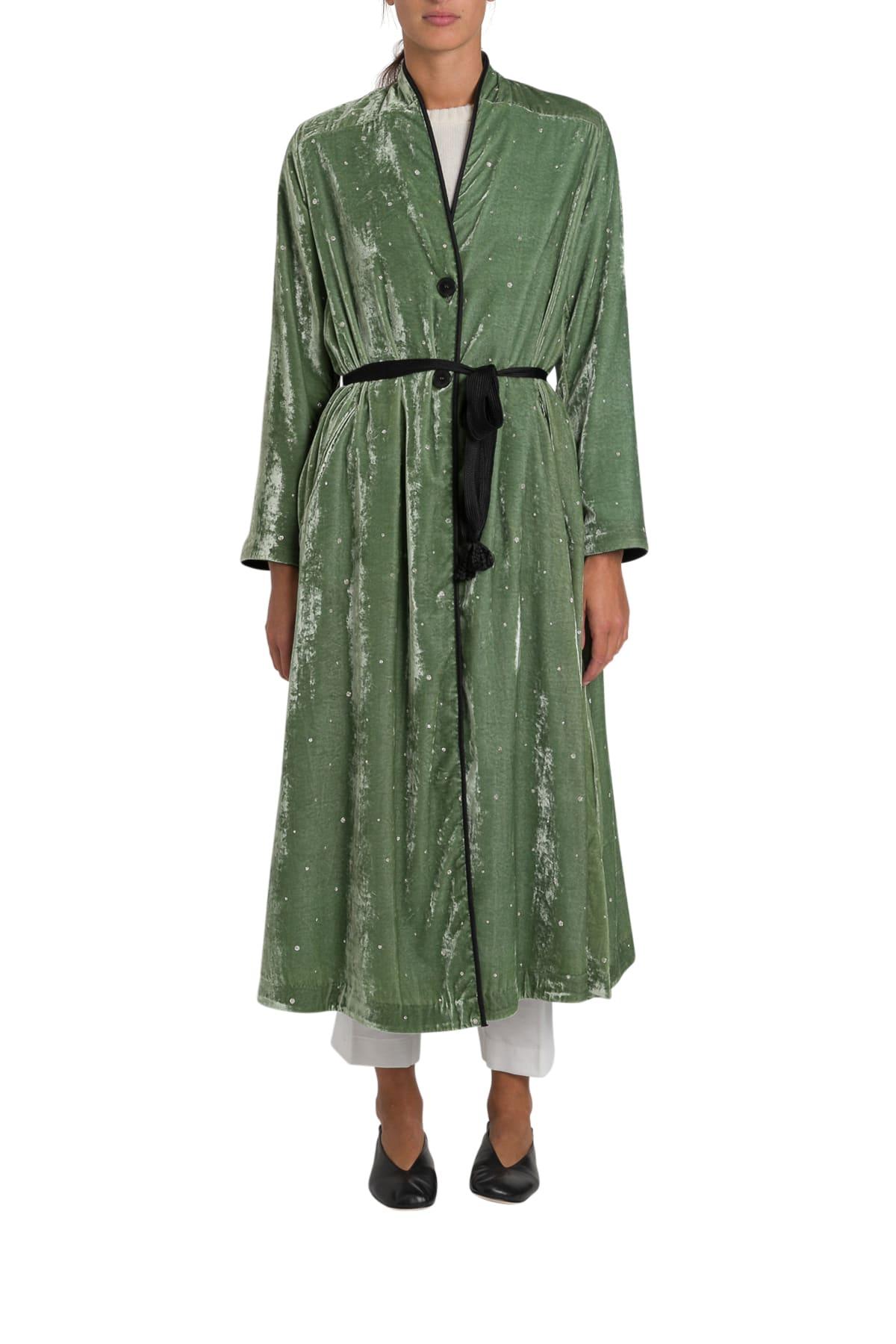 Forte Forte Velvet Duster Coat With Strass Embroidery Allover