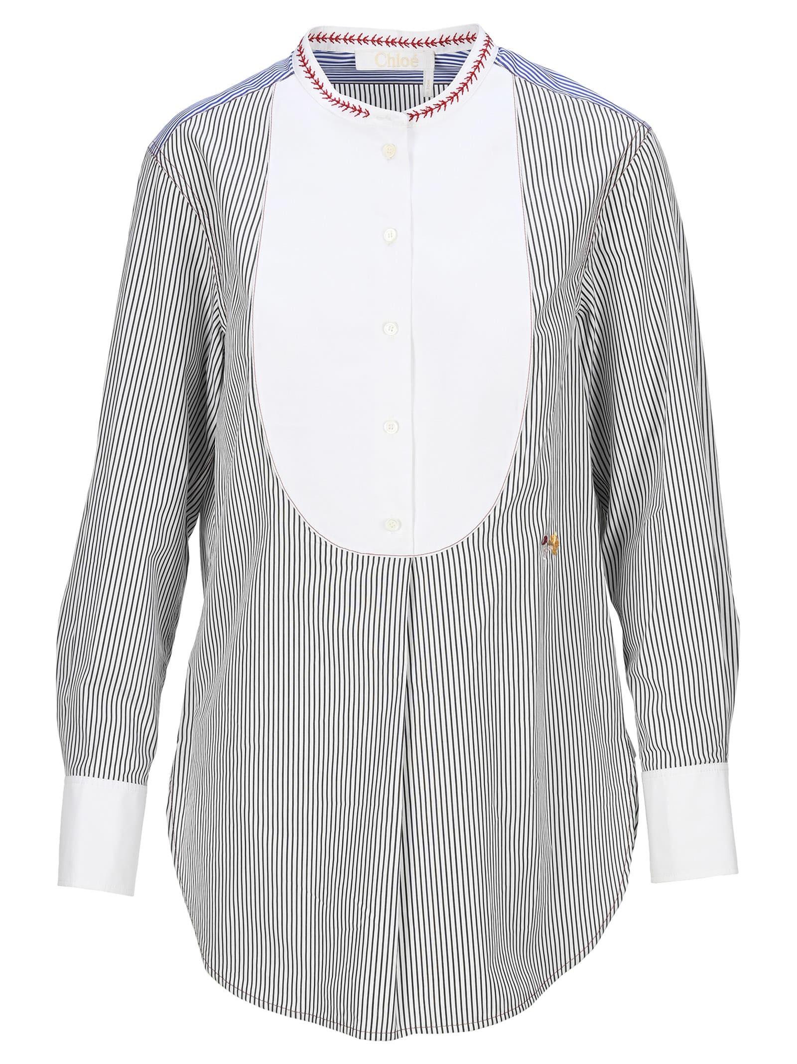 Chloé Chloe Smoking Shirt Stripes In Light Blue White