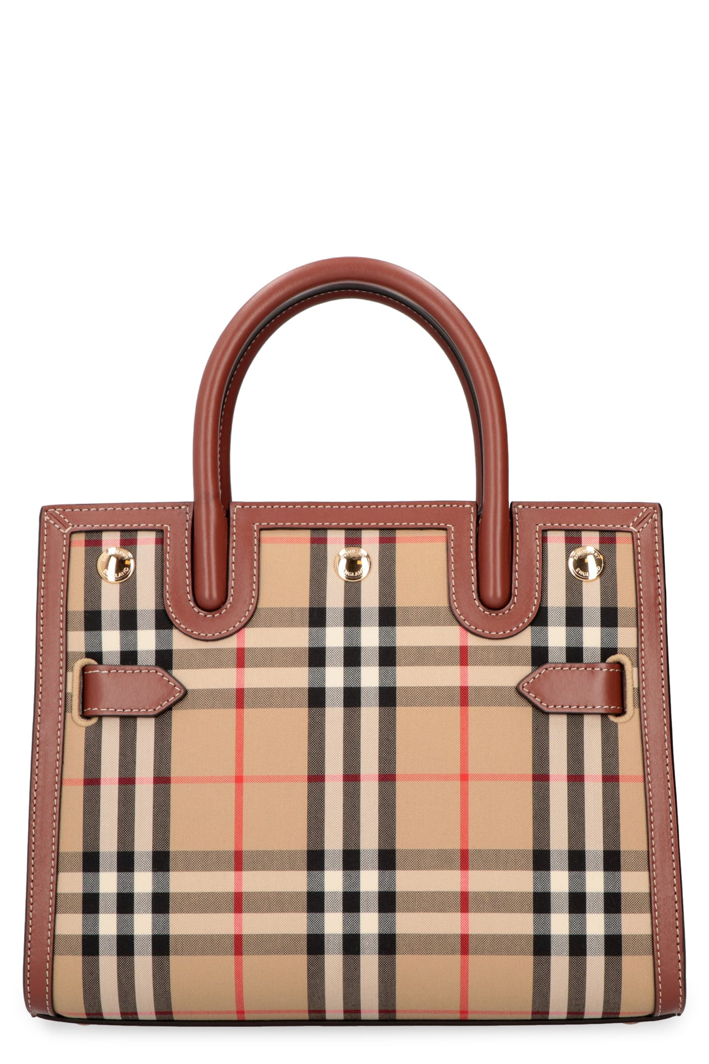 Burberry TITLE CHECKED CANVAS HANDBAG