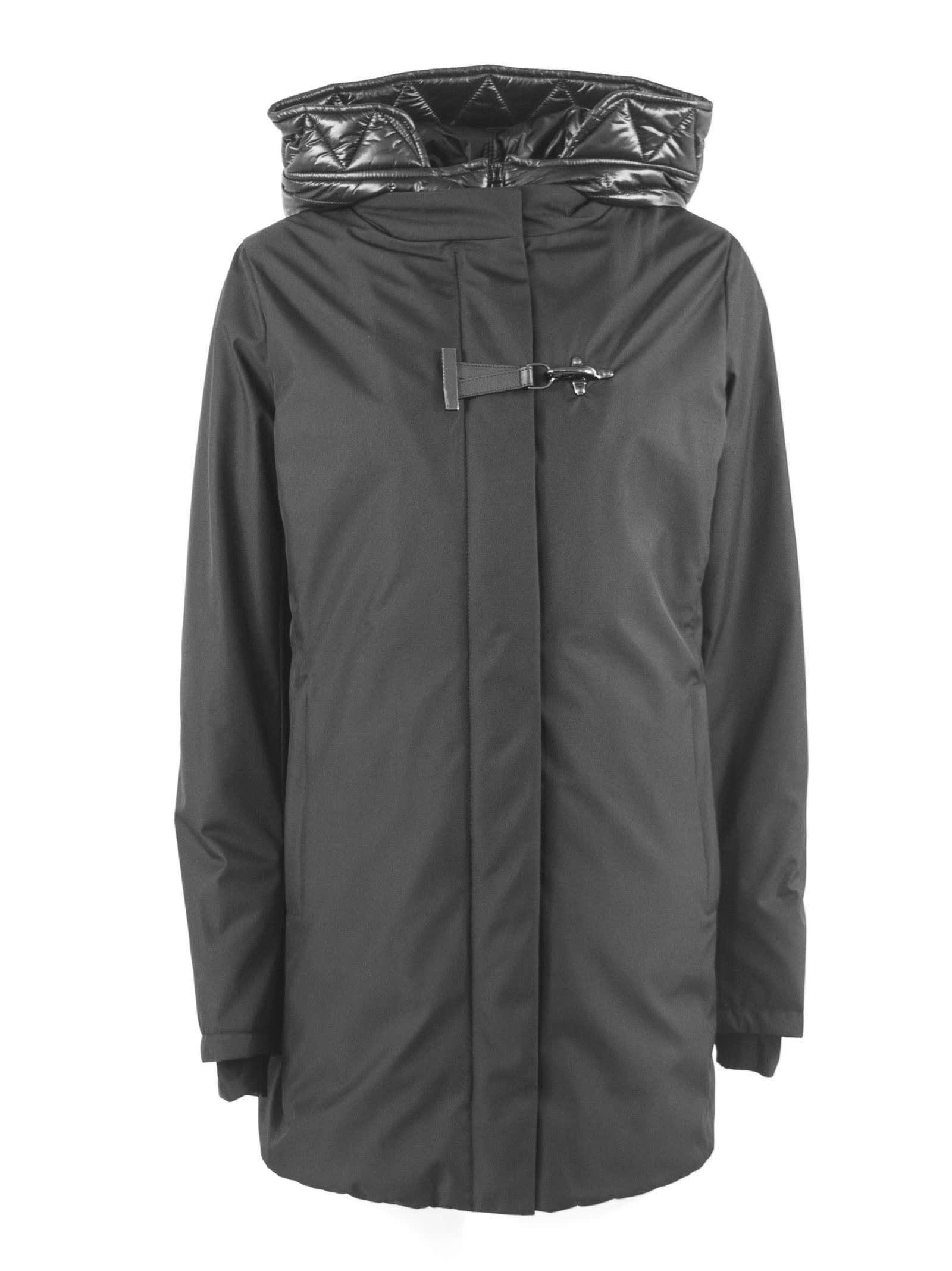 Fay Black Layered Hooded Coat