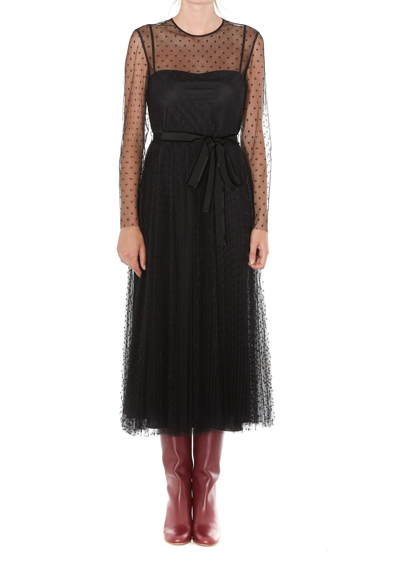 Red Valentino Point Desprit Pleated Dress