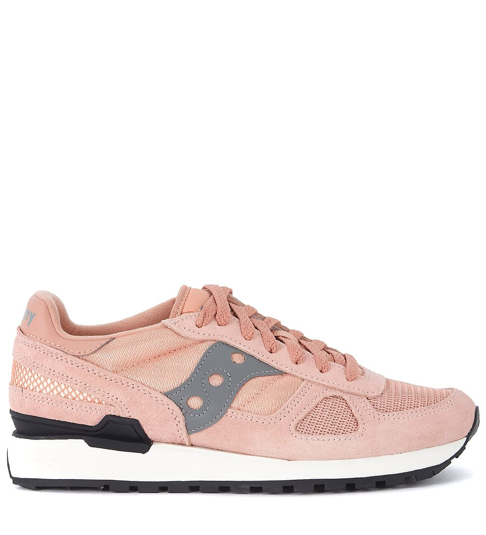 Saucony Shadow Pink And Grey Suede And Mesh Sneaker