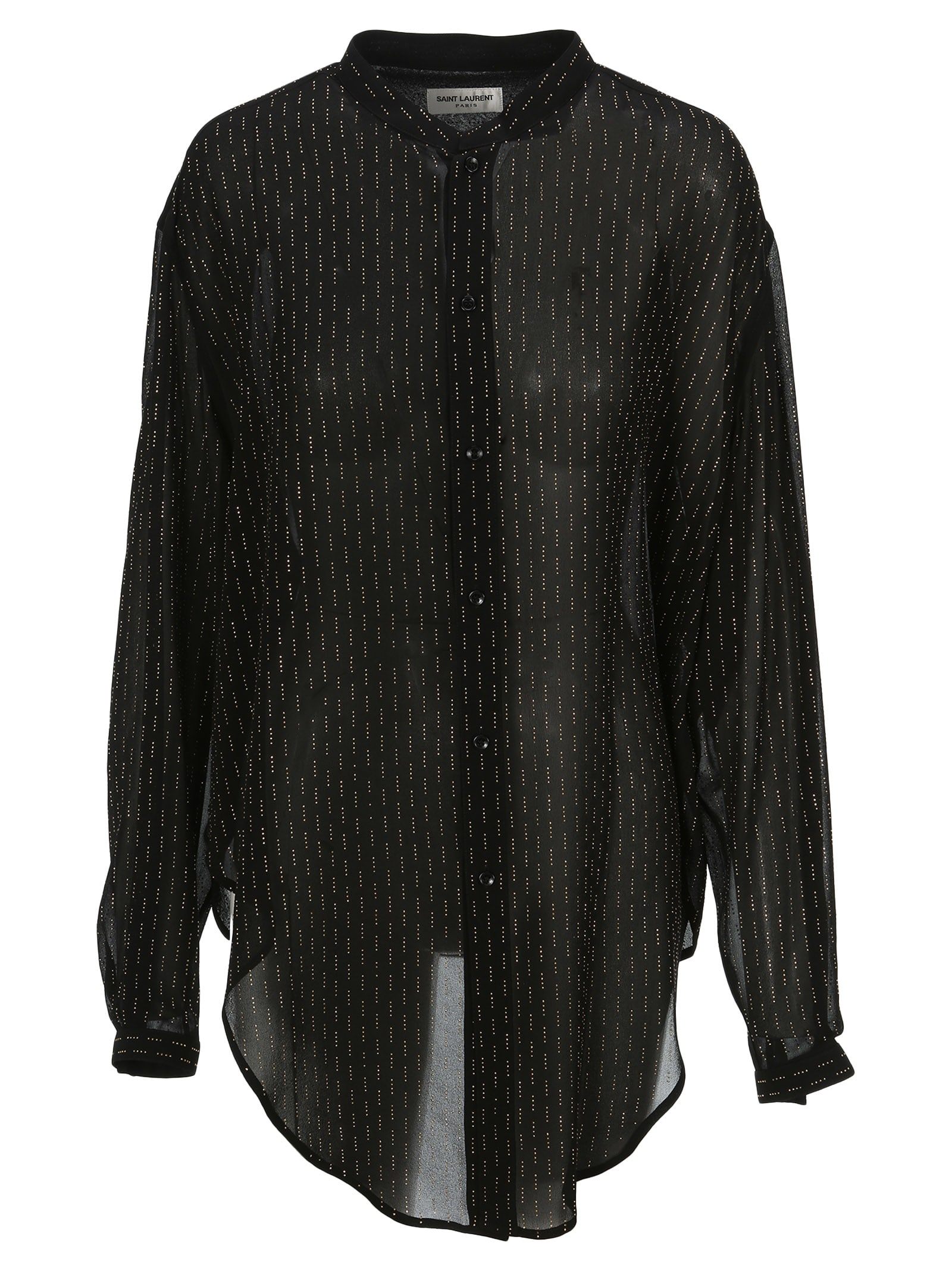 Saint Laurent Oversized Tie-up Shirt With Studs In Black Gold