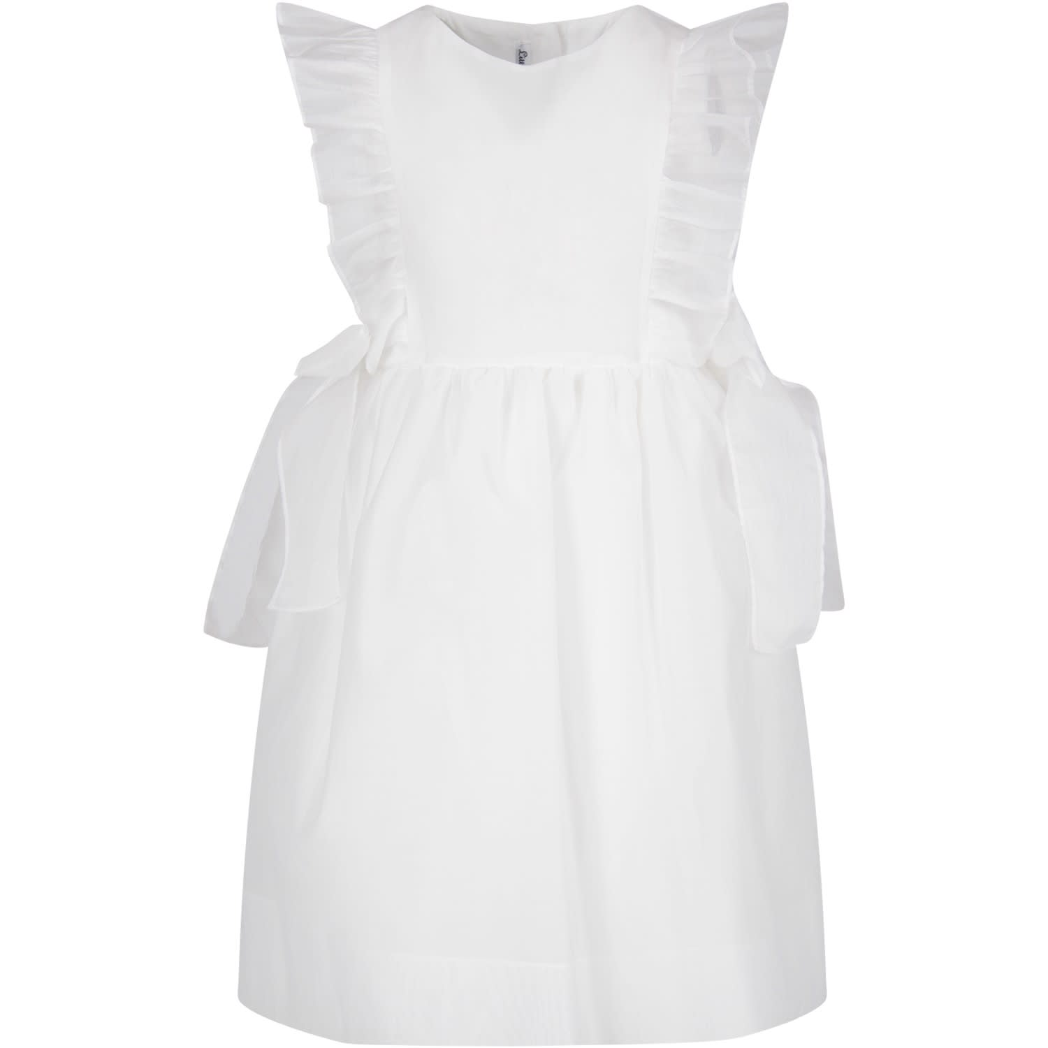 Little Bear White Girl Dress With Bows
