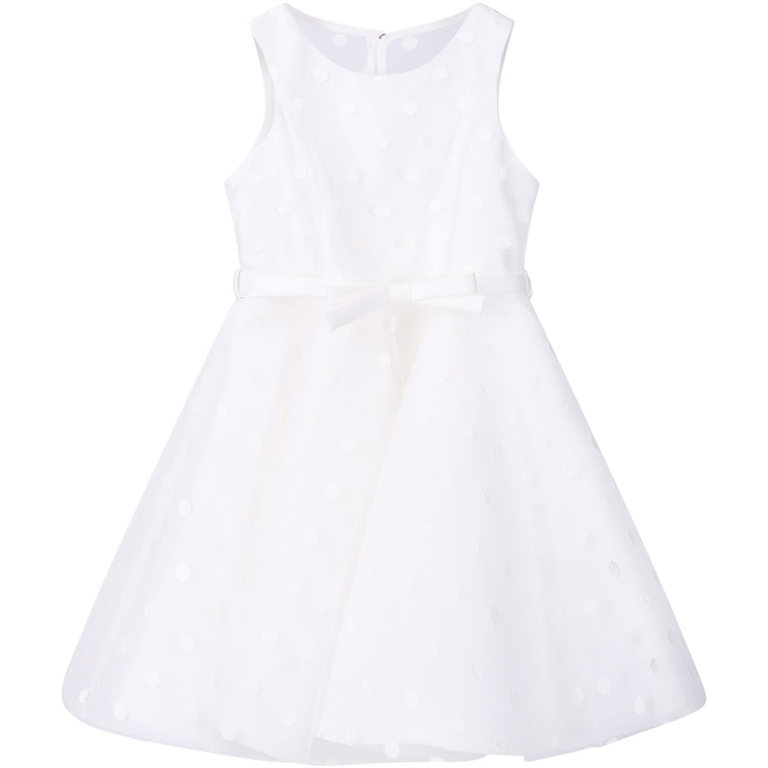 Loredana White Girl Dress With White Embroiderd Polka-dots