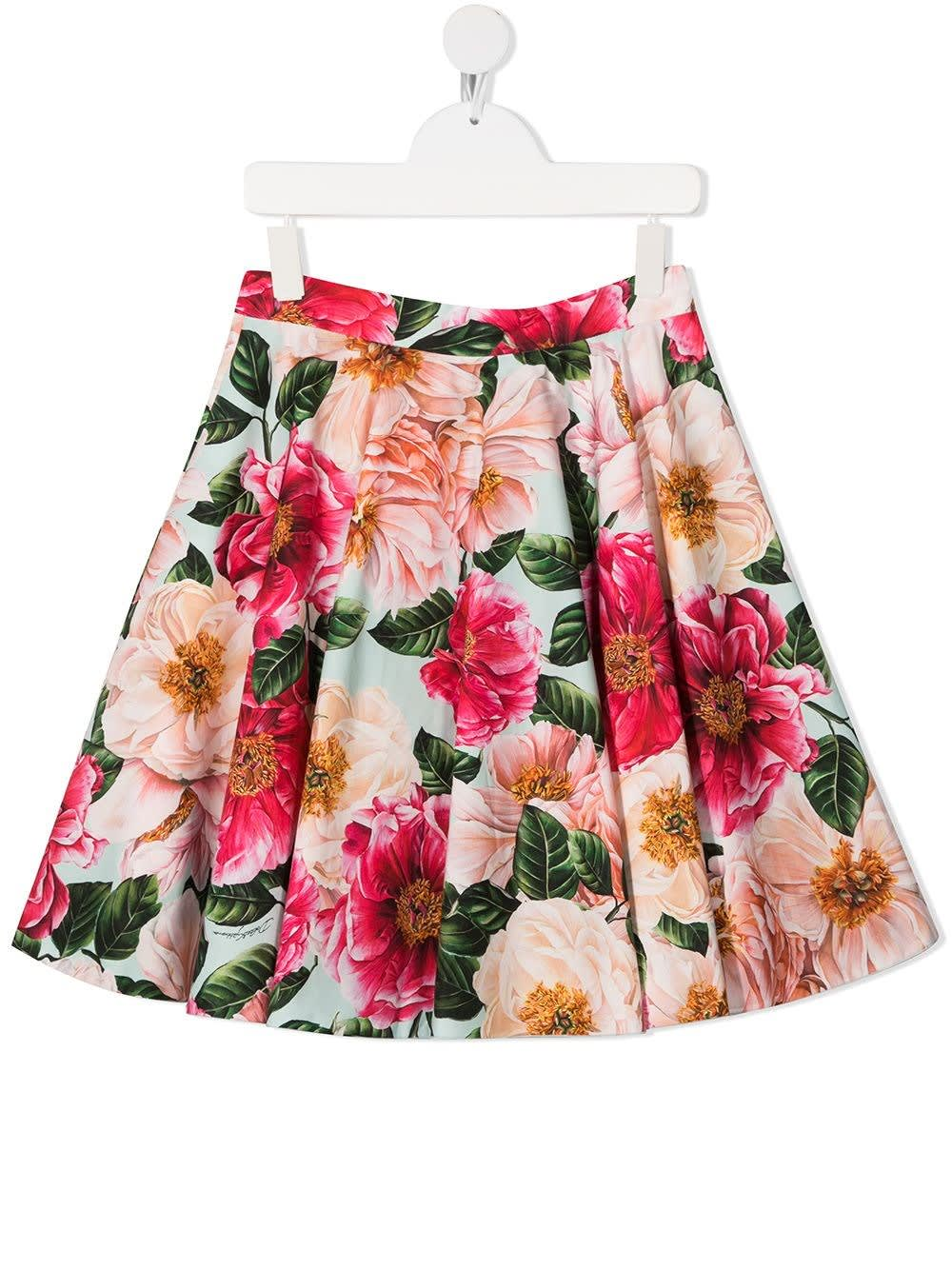 Dolce & Gabbana PLEATED SKIRT WITH CAMELLIA PRINT