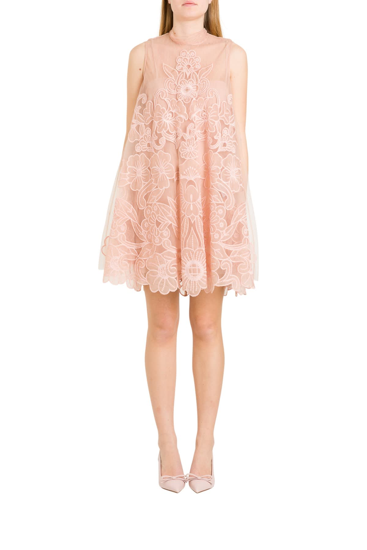 RED Valentino Point Desprit Mini Dress