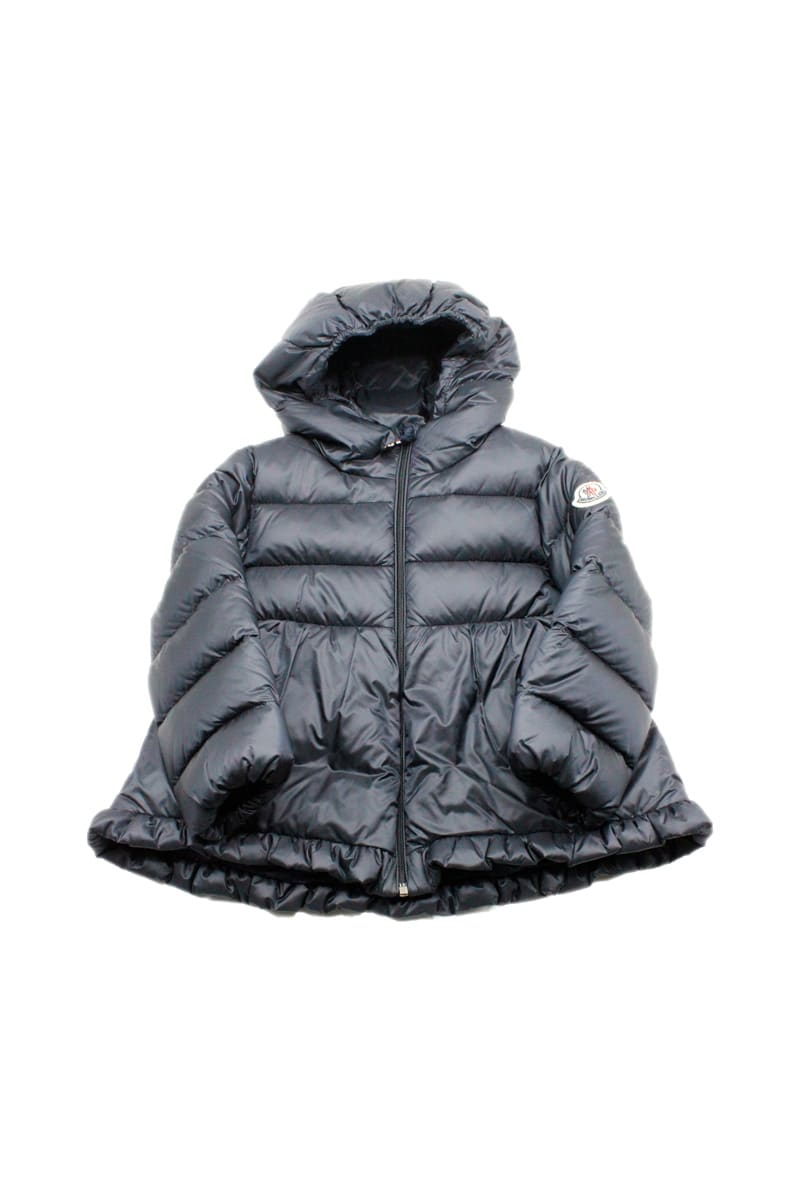 Moncler Odile Down Jacket With Flared Hood With Logo On The Sleeve
