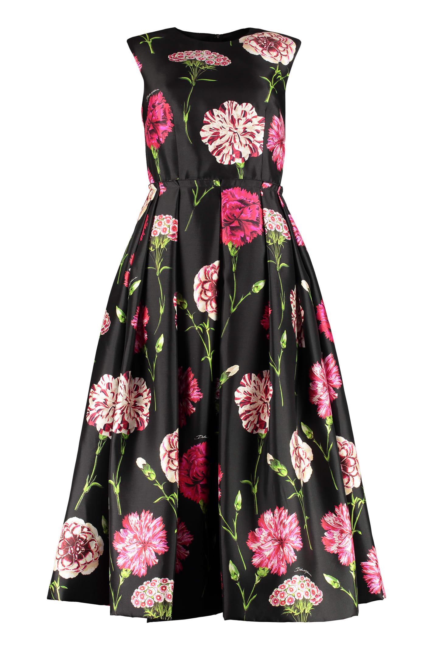 Buy Dolce & Gabbana Printed Silk Dress online, shop Dolce & Gabbana with free shipping