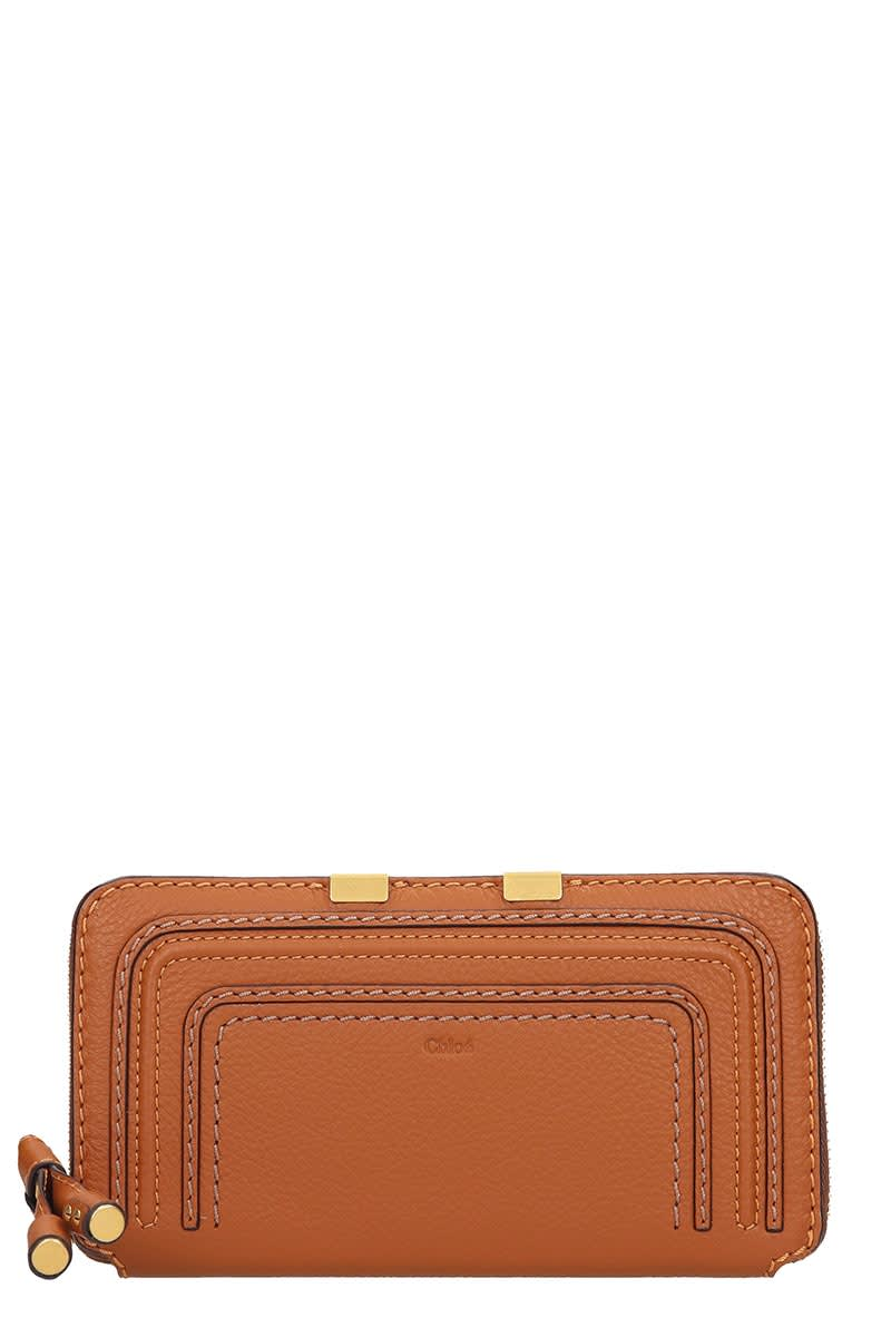 Long mercie Wallet in leather color leather, zip clousure, cards slots, internal zip pocket, stitching detail, gold hardware, Height 100 mm, Width 190 mmComposition: Leather
